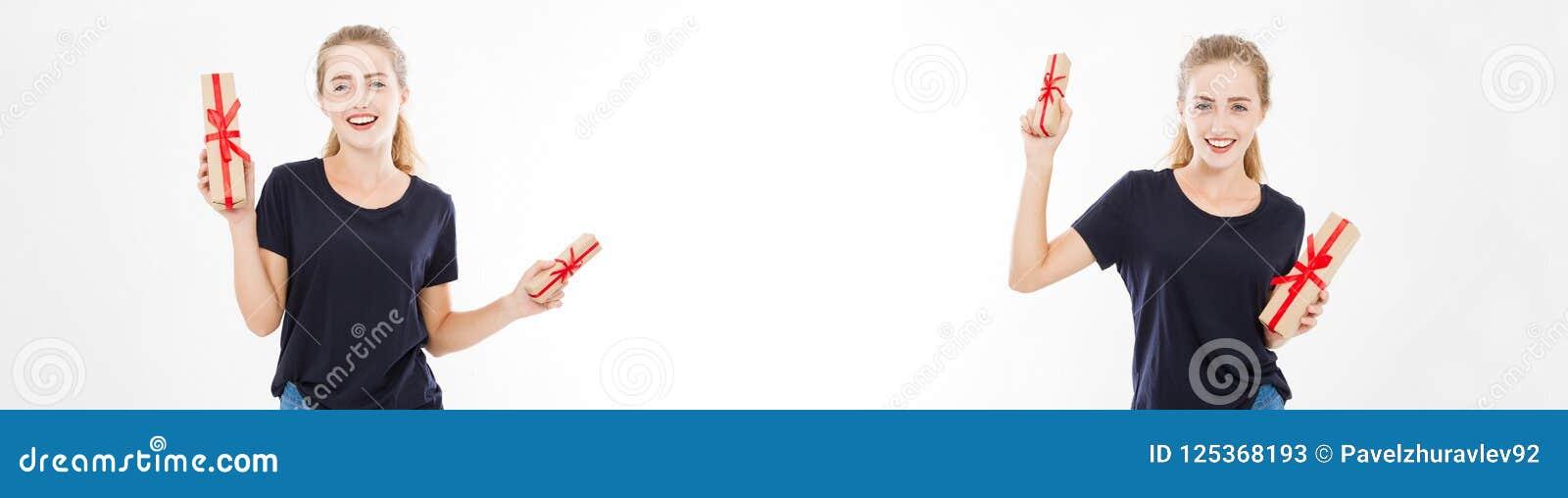 拼贴画,套年轻俏丽的妇女画象举行堆礼物盒 T恤杉的微笑的愉快的女孩在白色背景