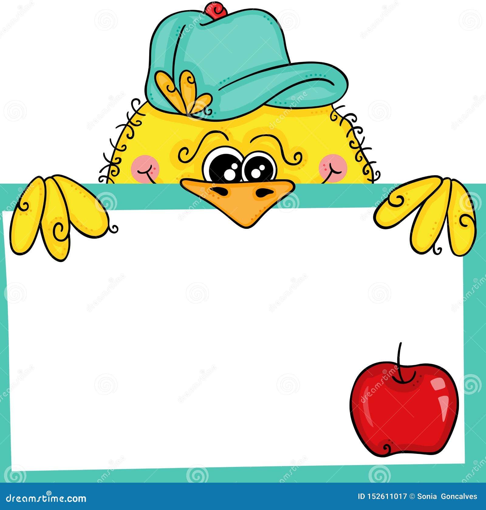 拿着一个标签空白标记用樱桃的黄色鸟
