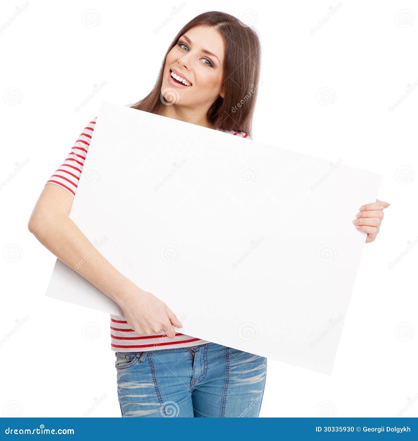 拿着一个白板的偶然少妇