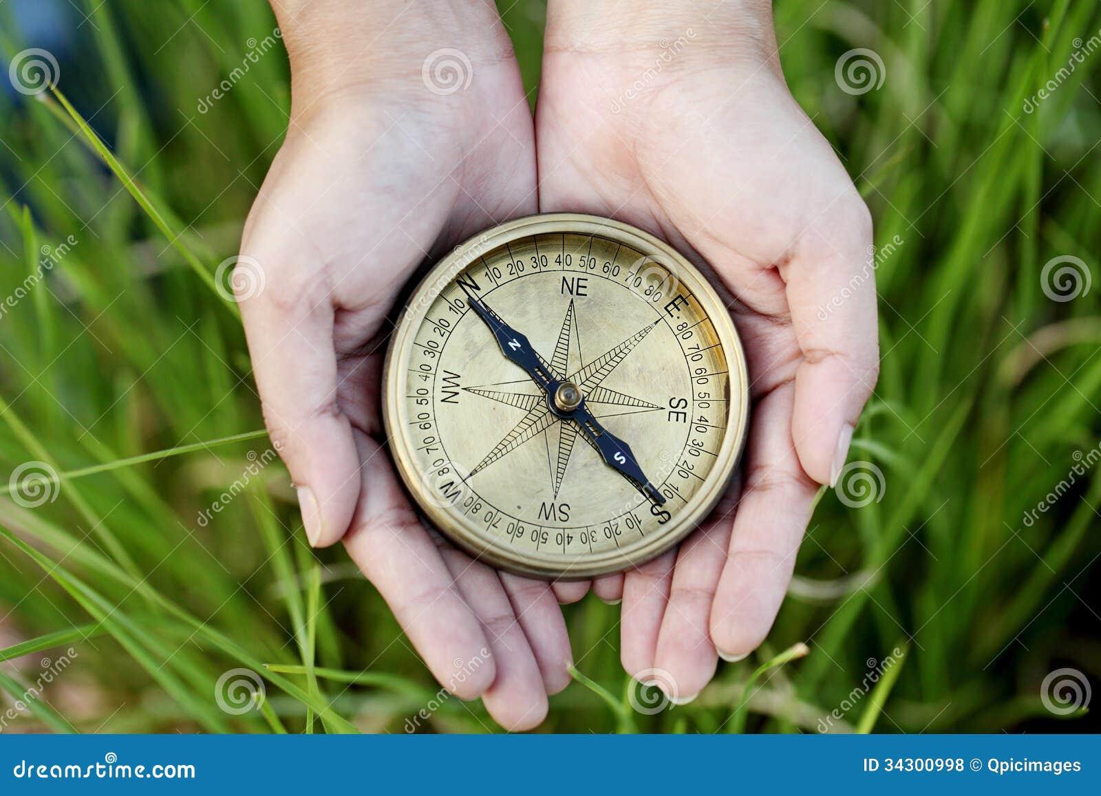 拿着一个老指南针的手