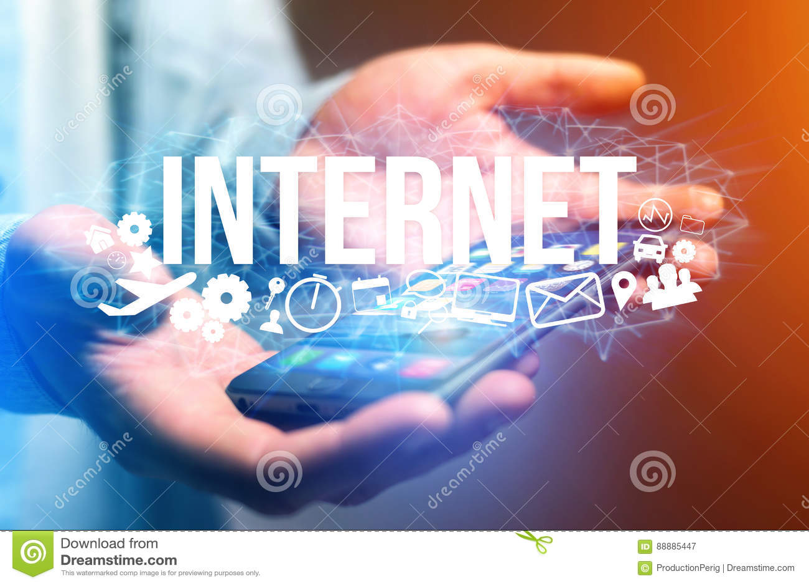 拿着与互联网标题的人的概念未来派接口