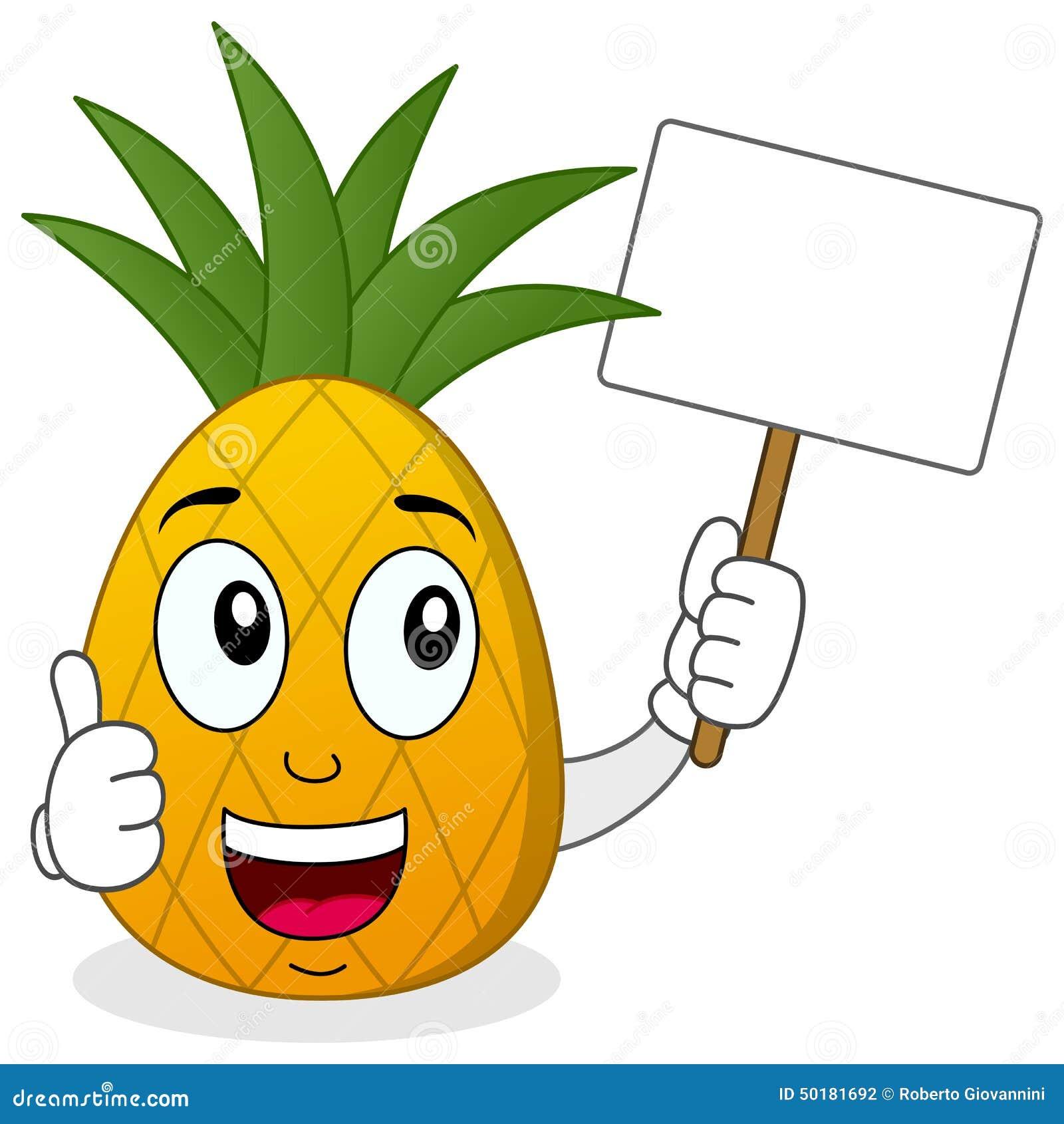 拿着与赞许的菠萝横幅图片