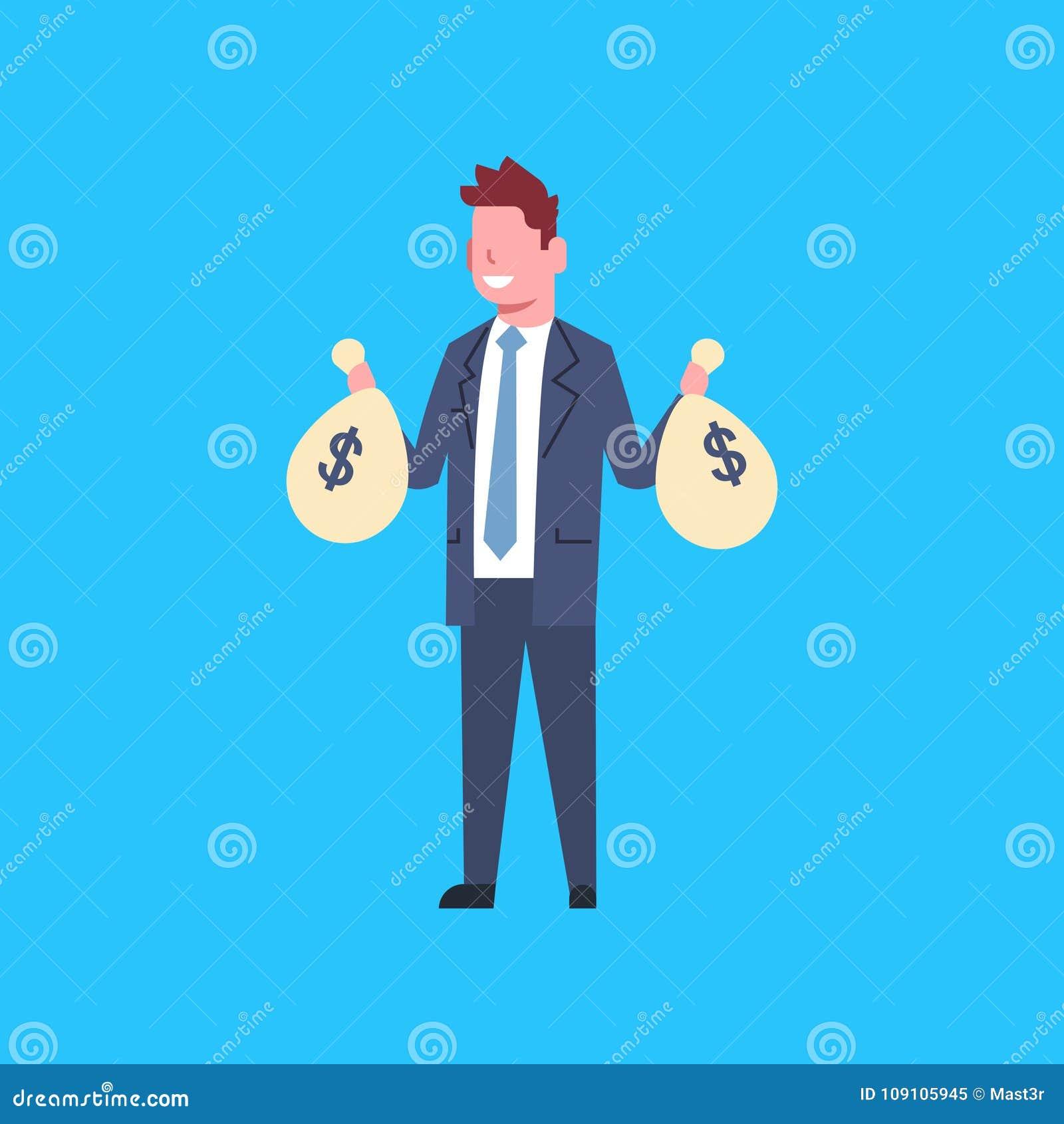 拿着与金钱成功的办公室工作者商人的商人袋子被隔绝