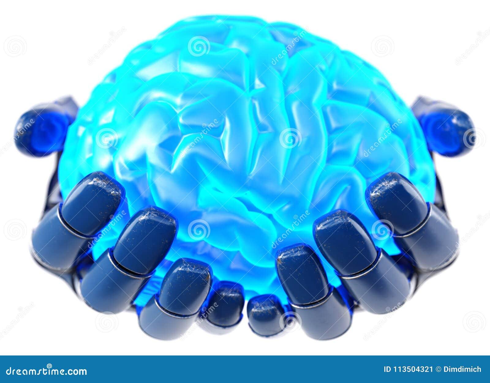 拿着人脑的机器人手