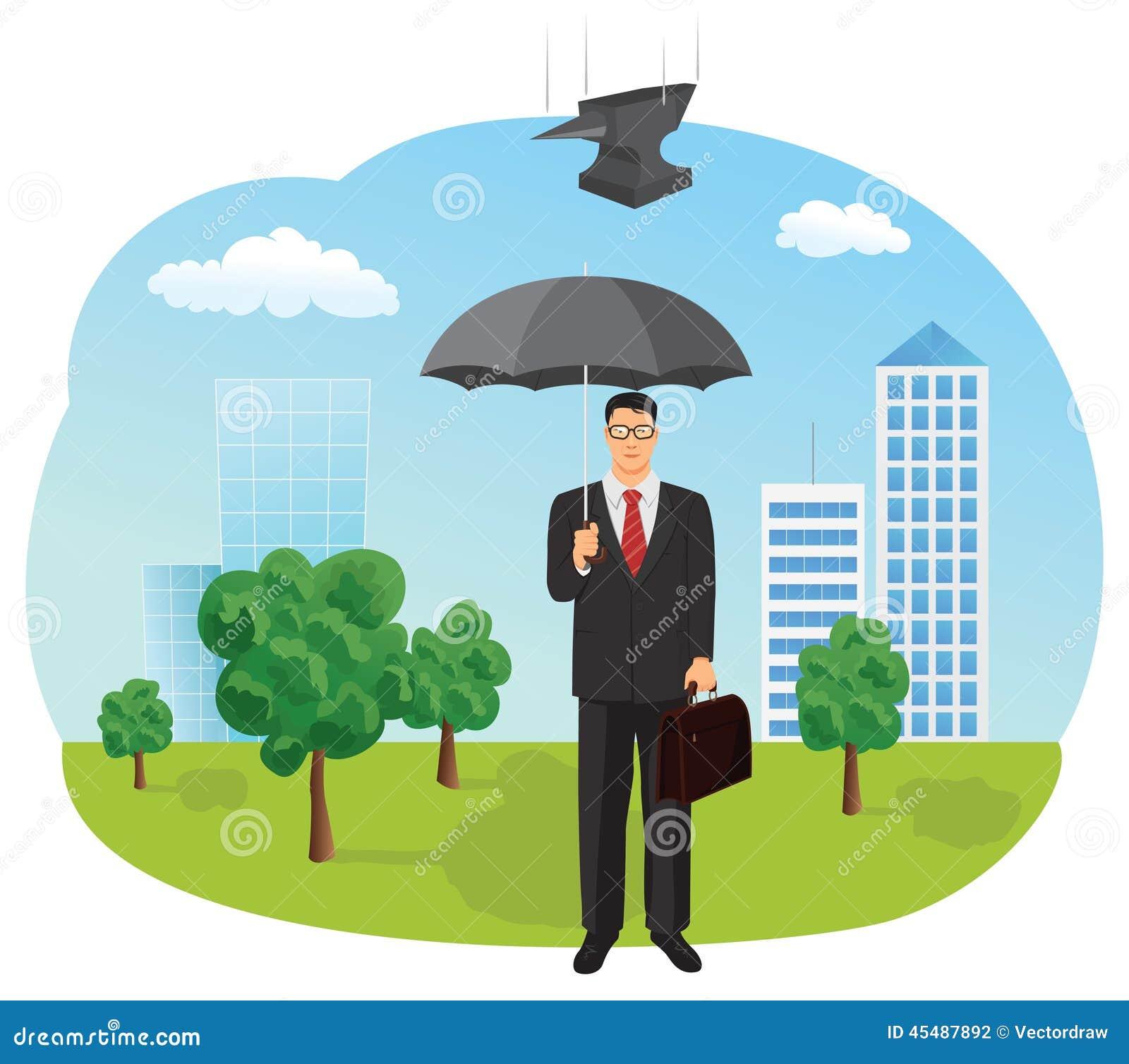 拿着伞的生意人