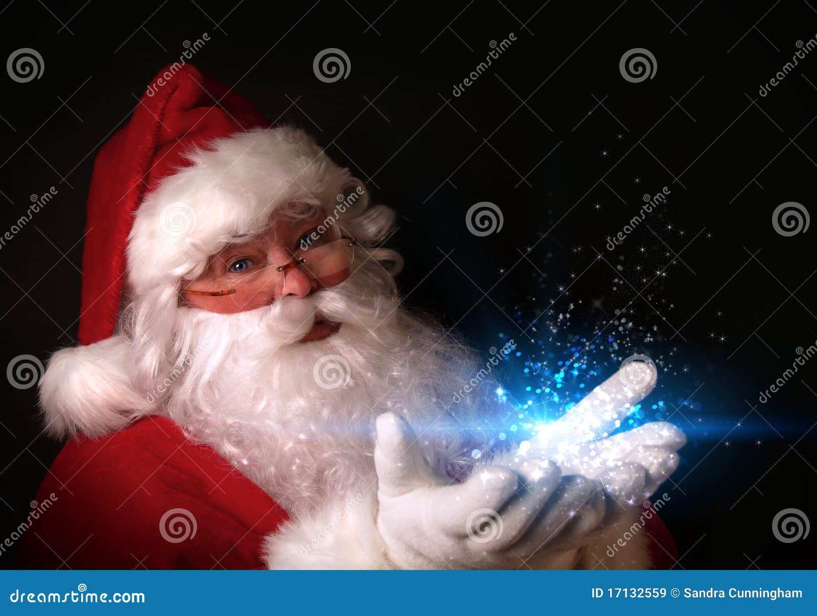 拿着光魔术圣诞老人的现有量