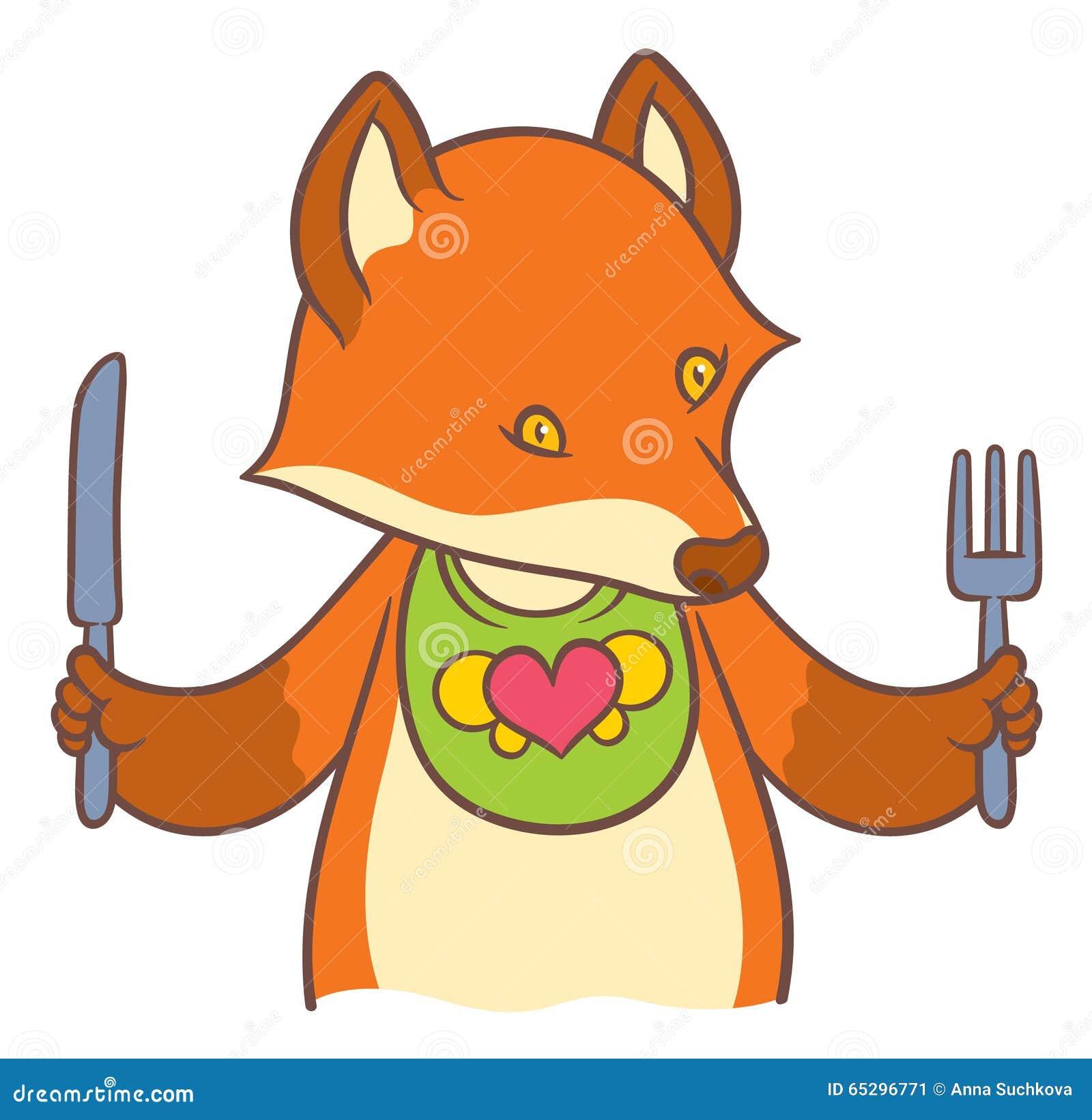 逗人喜爱的动画片狐狸拿着刀子的和叉子-导航图画.