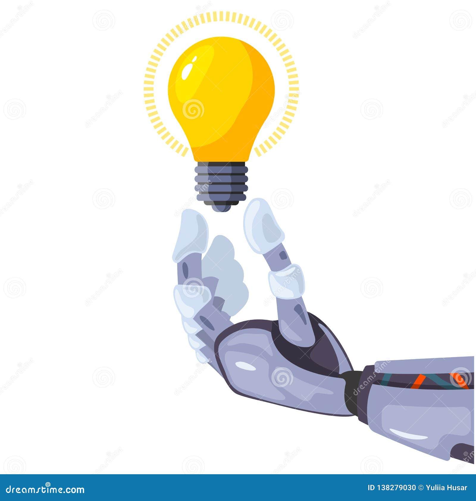 拿着在概念性想法技术的机器人手一个电灯泡 人工智能未来派设计观念