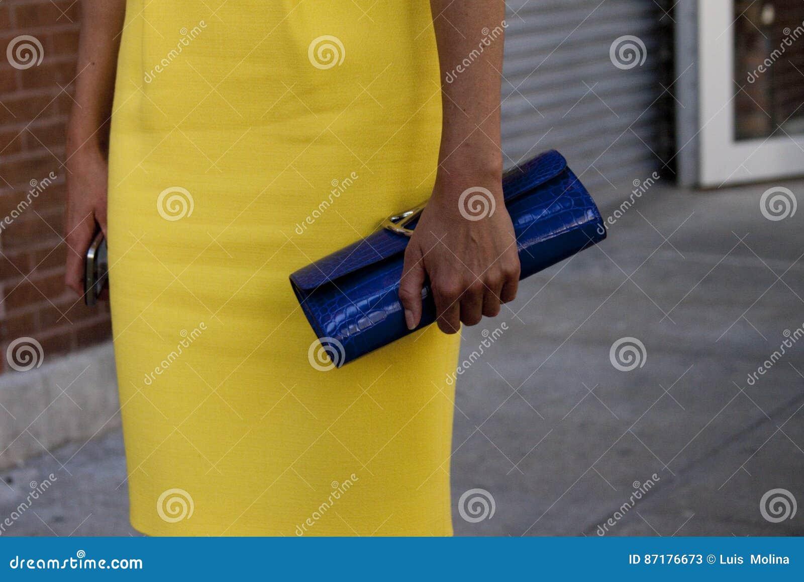 拿着她的传动器钱包的妇女户外