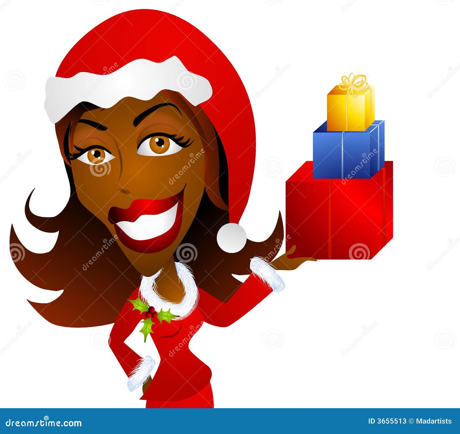 拿着妇女的非洲裔美国人的圣诞节礼品