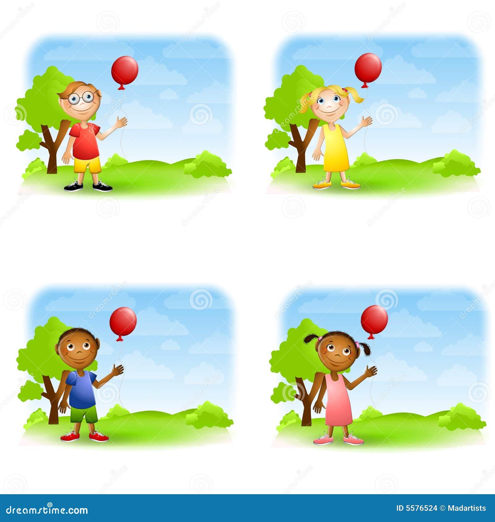 背景迅速增加以女孩为特色的男孩拿着例证公园设置.图片