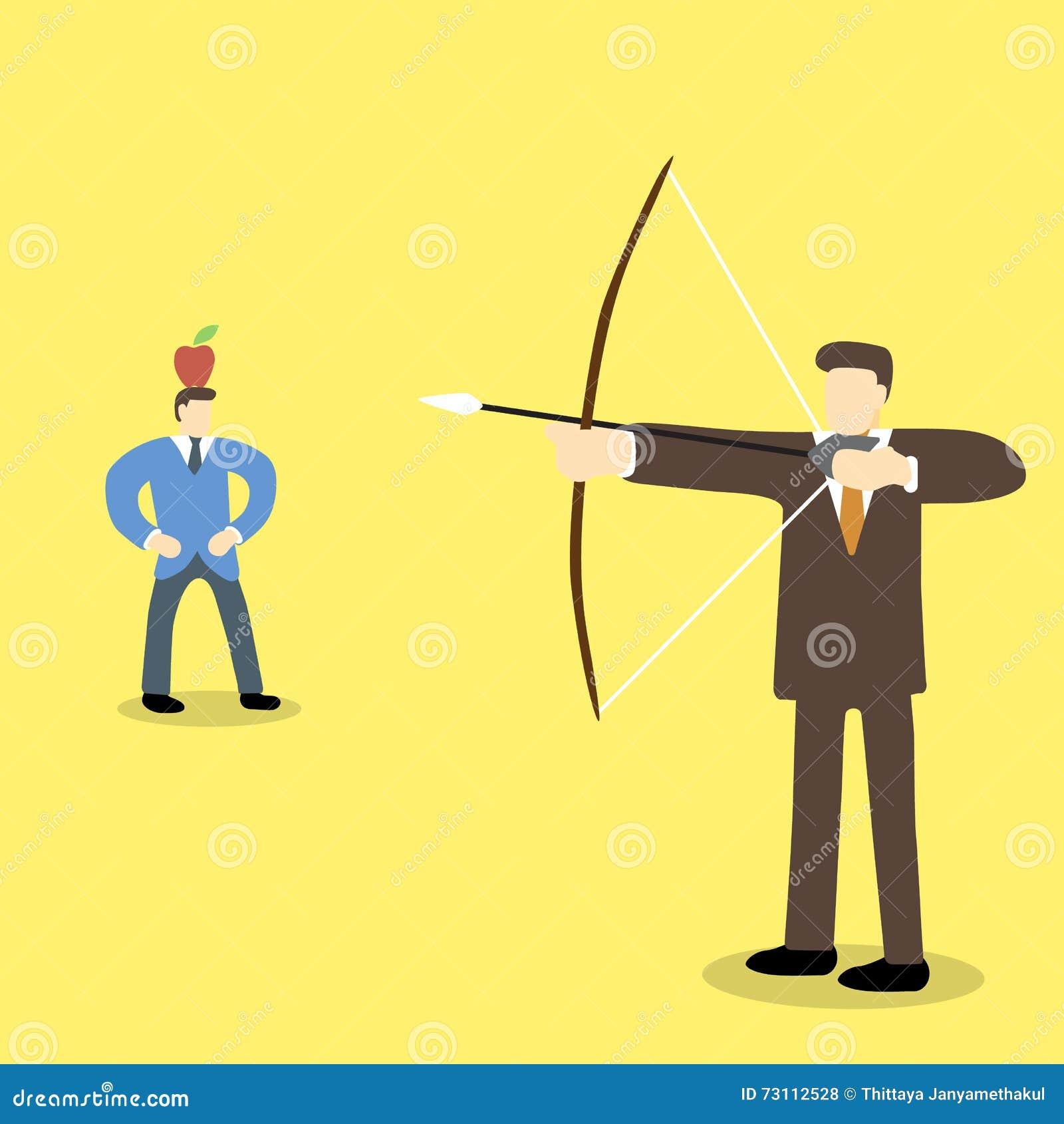 拿着弓箭的商业主管打算射击在另一个人的头的苹果