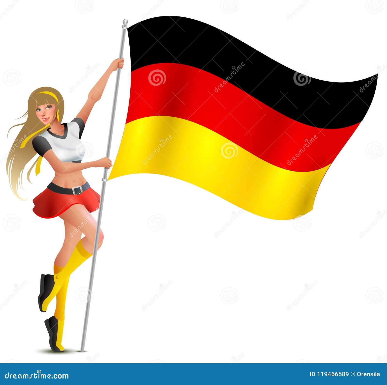 拿着德语的旗子美丽的妇女 足球迷啦啦队员