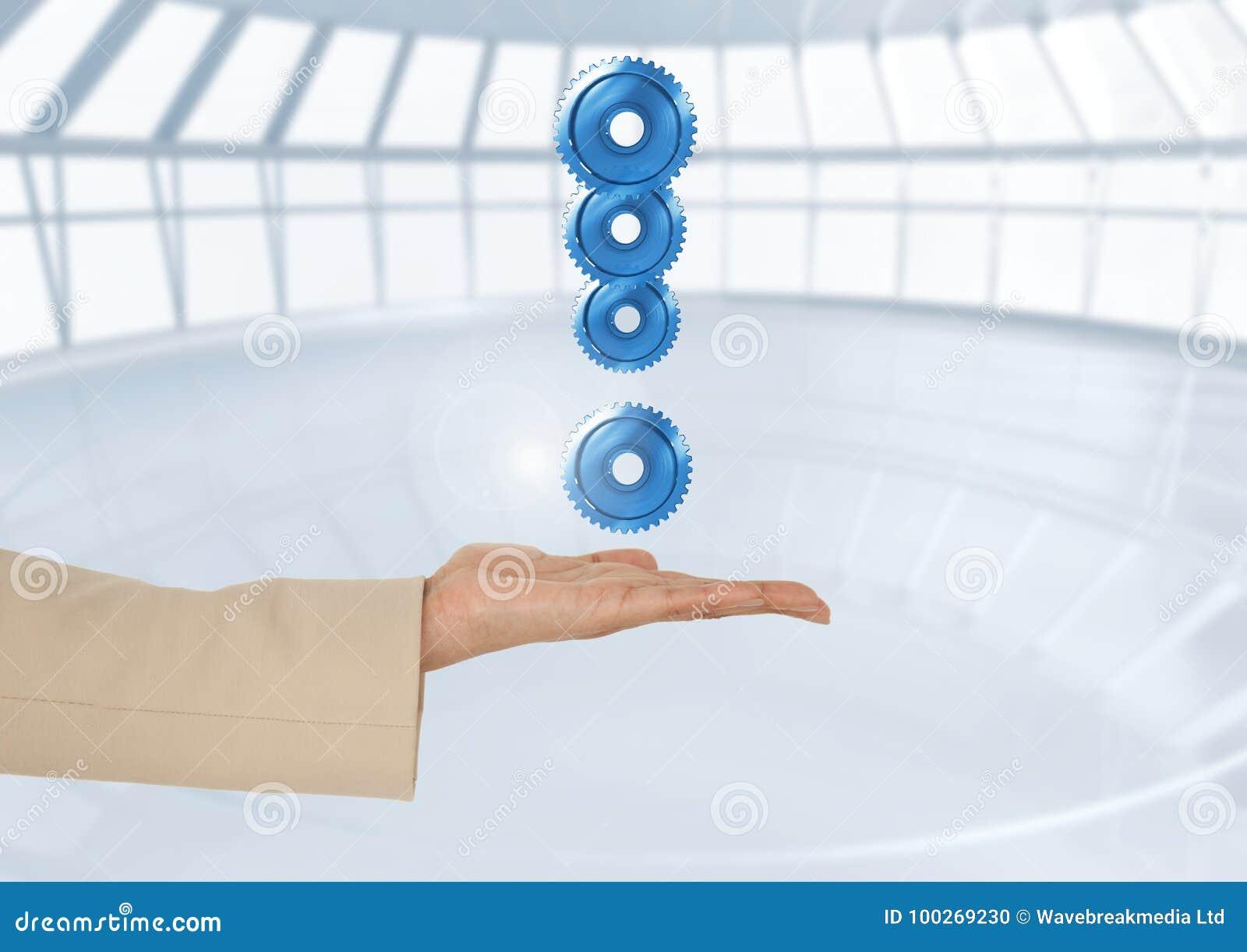 拿着惊叹号的手由嵌齿轮制成