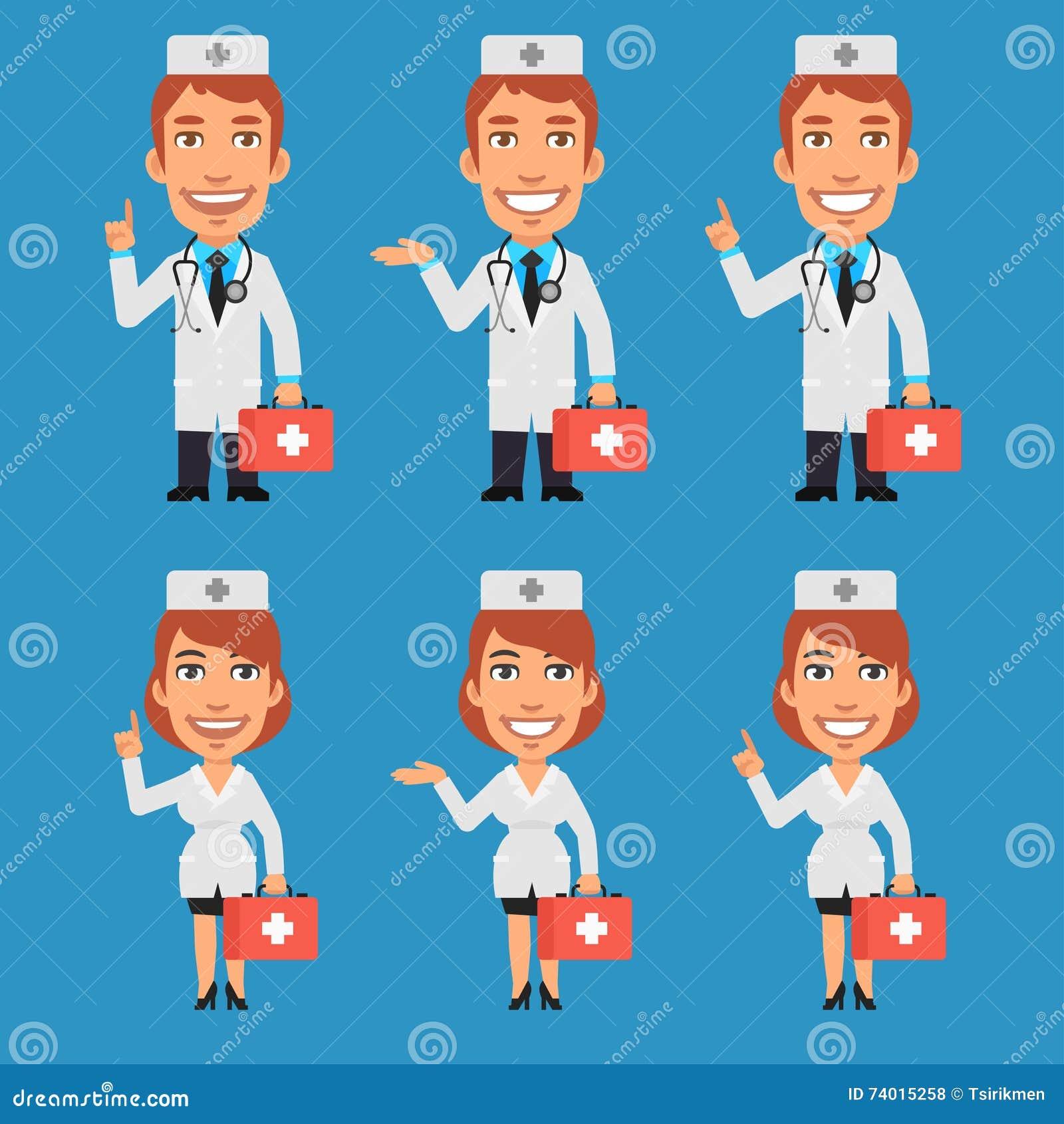 拿着手提箱和点的医生和护士