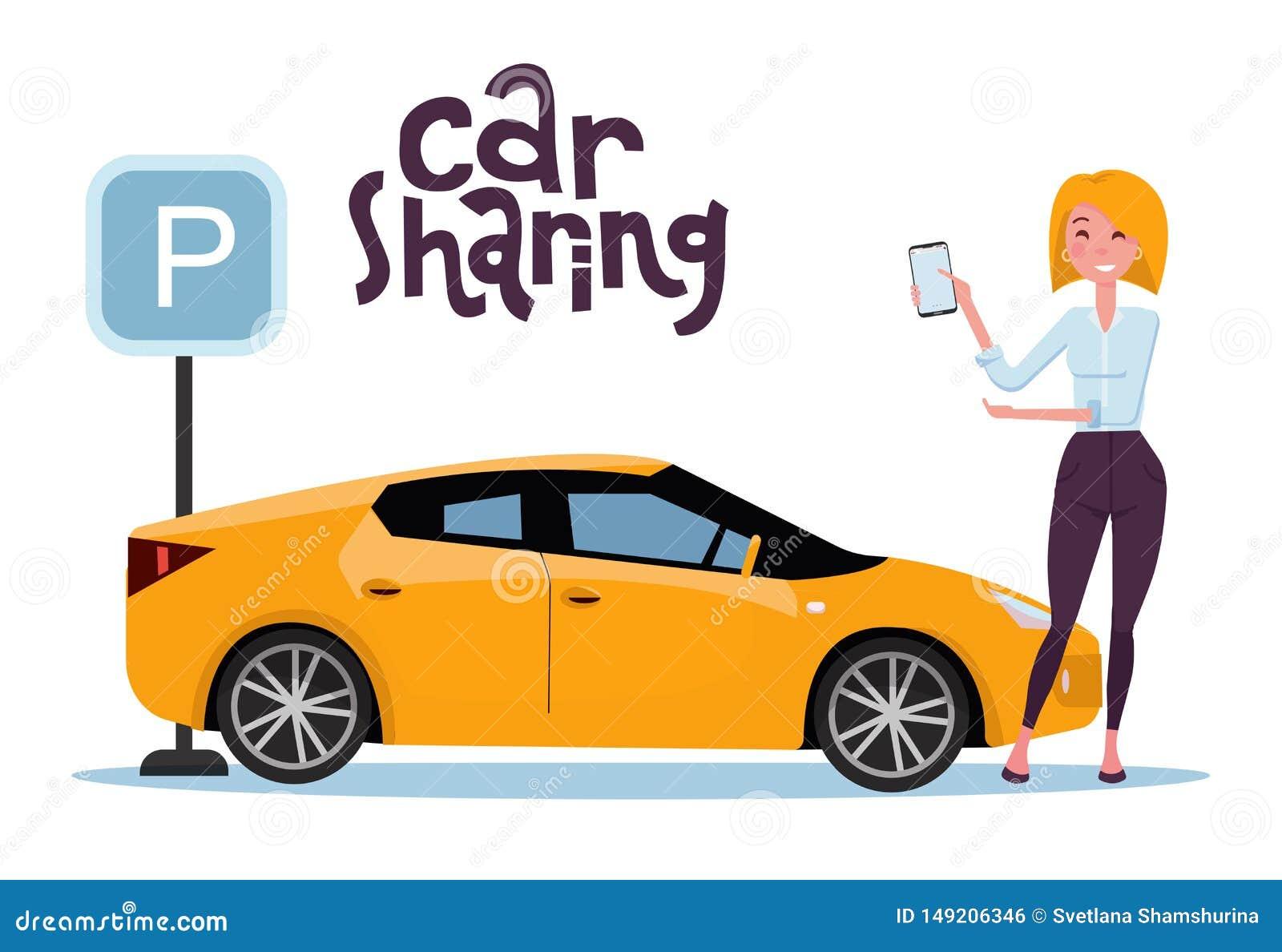 拿着手机的可爱的白肤金发的年轻女人在网上租用在停车场的一辆汽车 新的黄色汽车站立在停放的标志