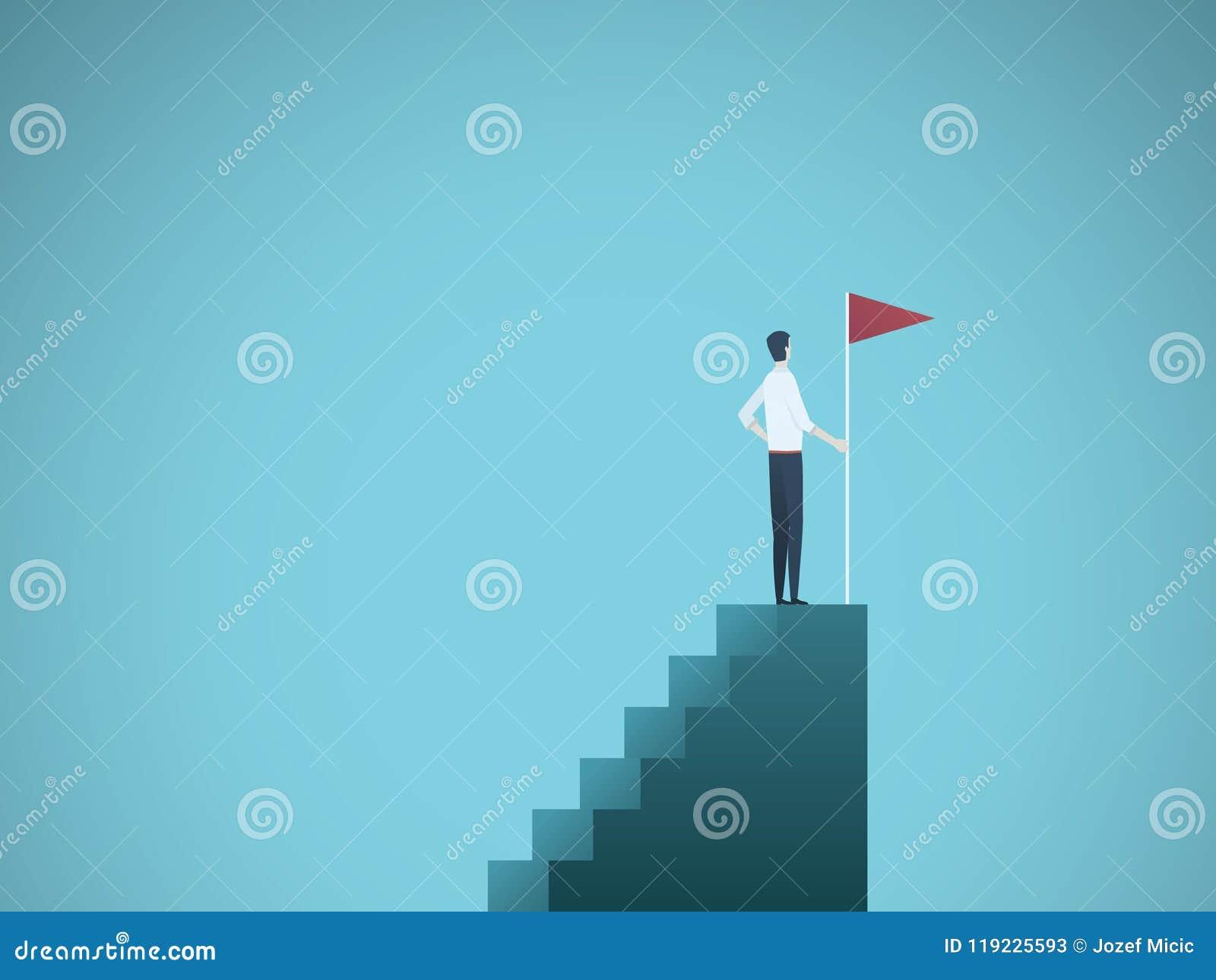 拿着旗子的商人在专栏图表顶部 目标、成功、成就和挑战的企业概念