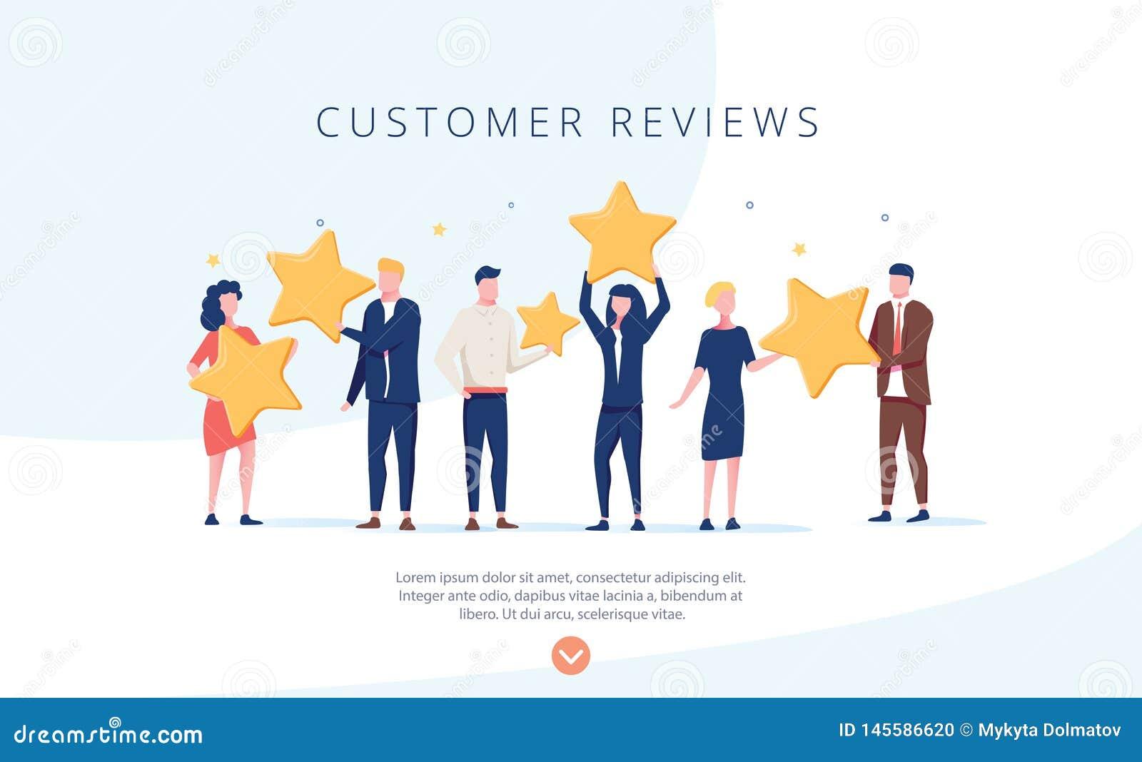 拿着星的人们 顾客回顾概念例证概念例证,为网络设计,横幅完善