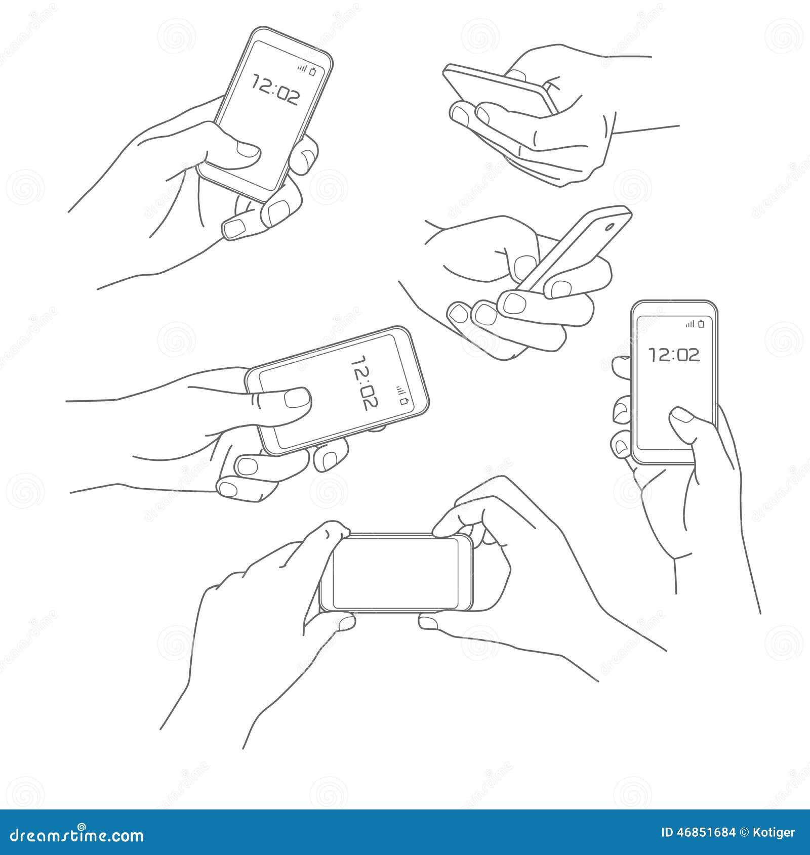 拿着智能手机传染媒介例证汇集的手.