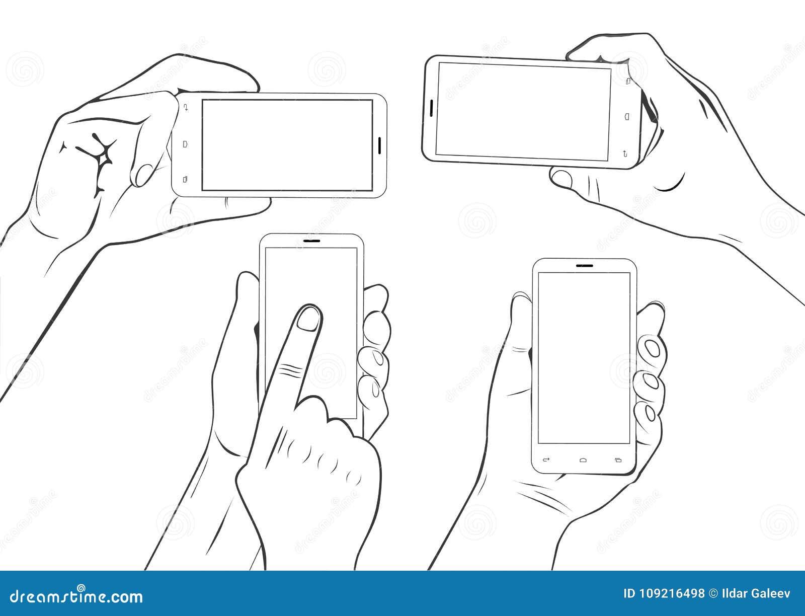 拿着智能手机触摸屏幕剪影集合的手势被隔绝