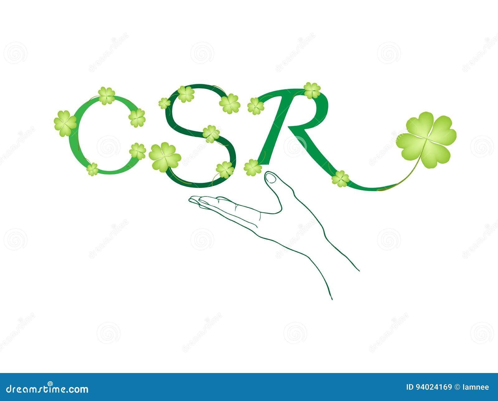 拿着有公司的社会责任概念的手绿色叶子