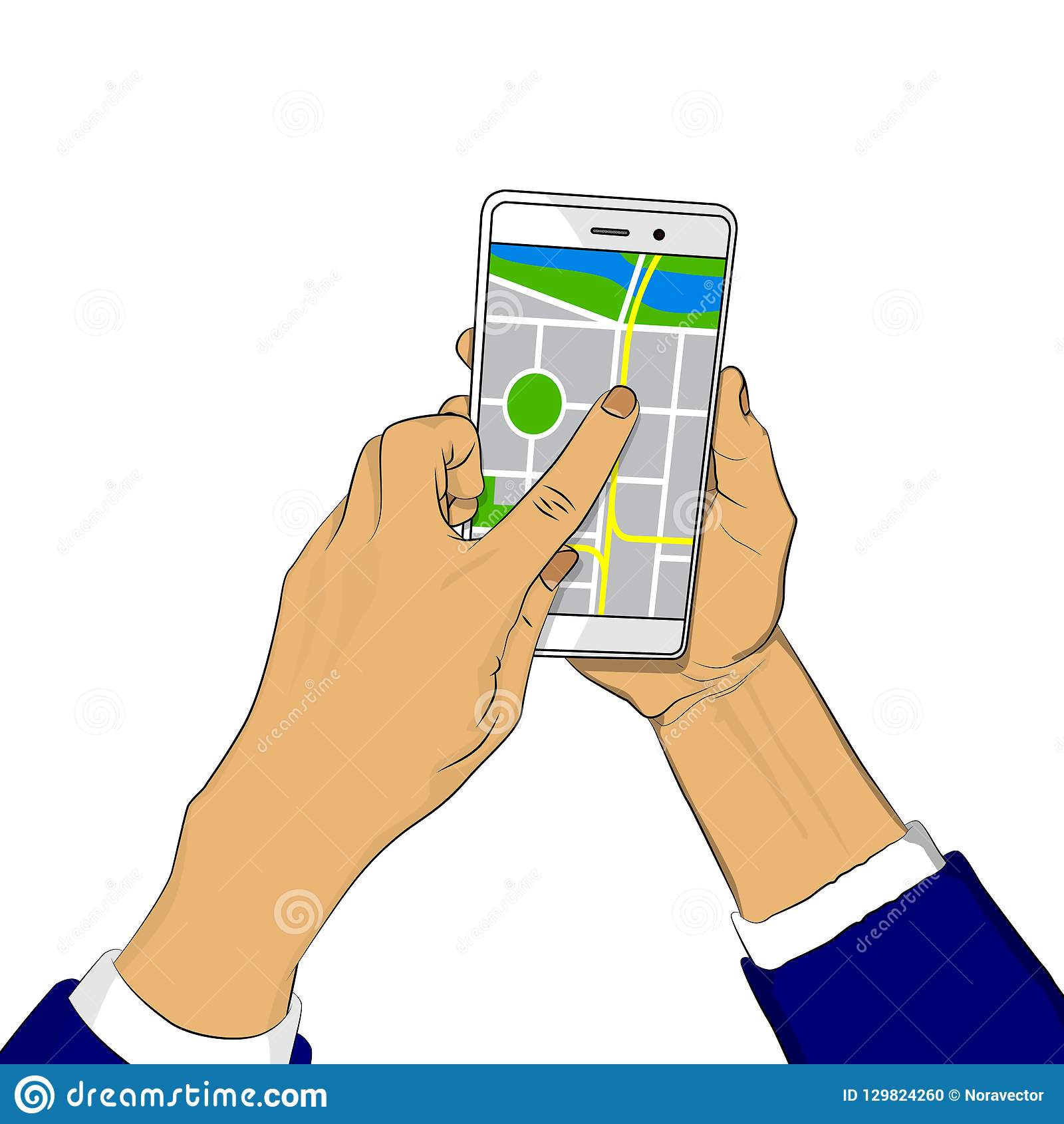 拿着有地图的手白色手机