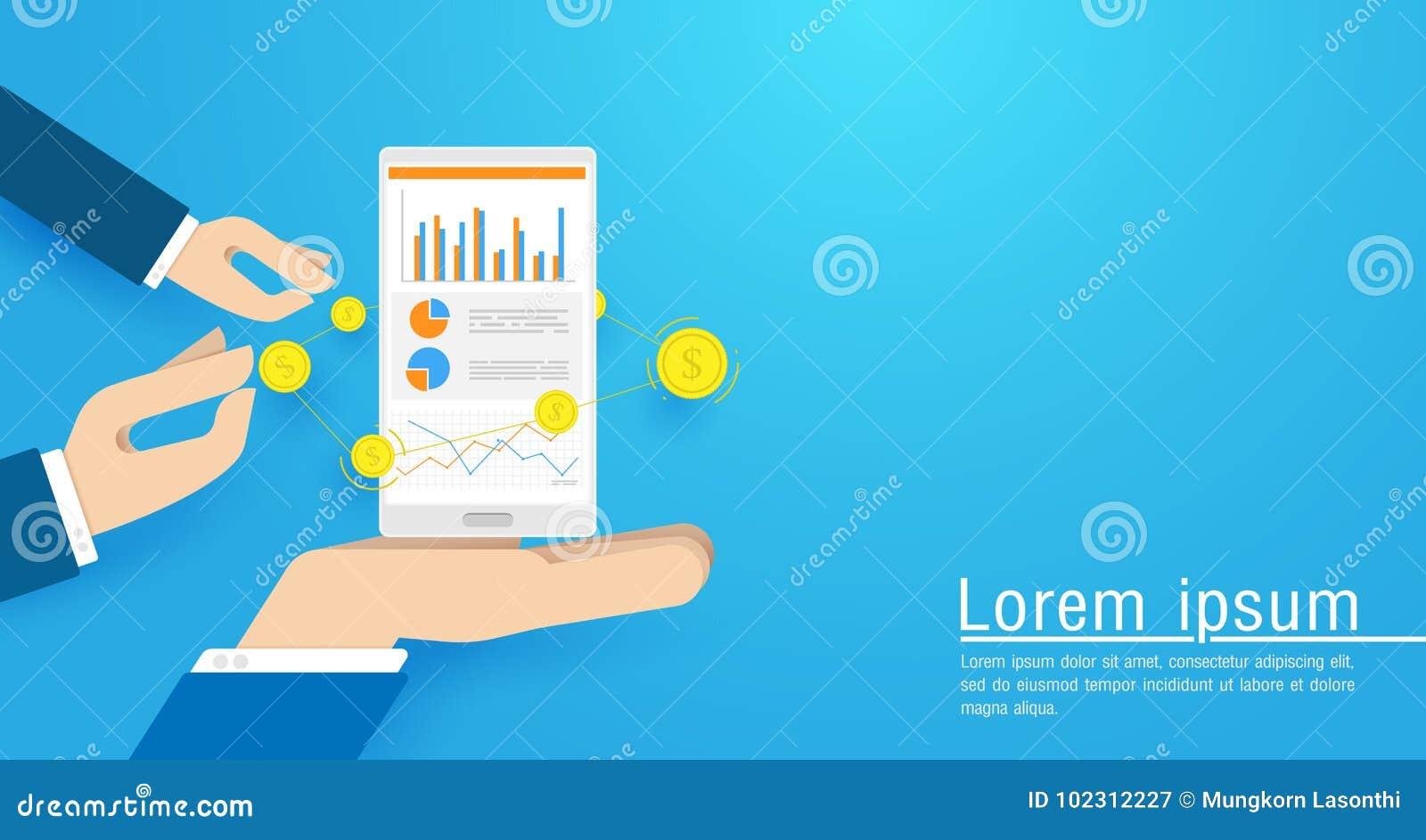 拿着有网上销售统计的企业手巧妙的电话,股市图 平的传染媒介例证