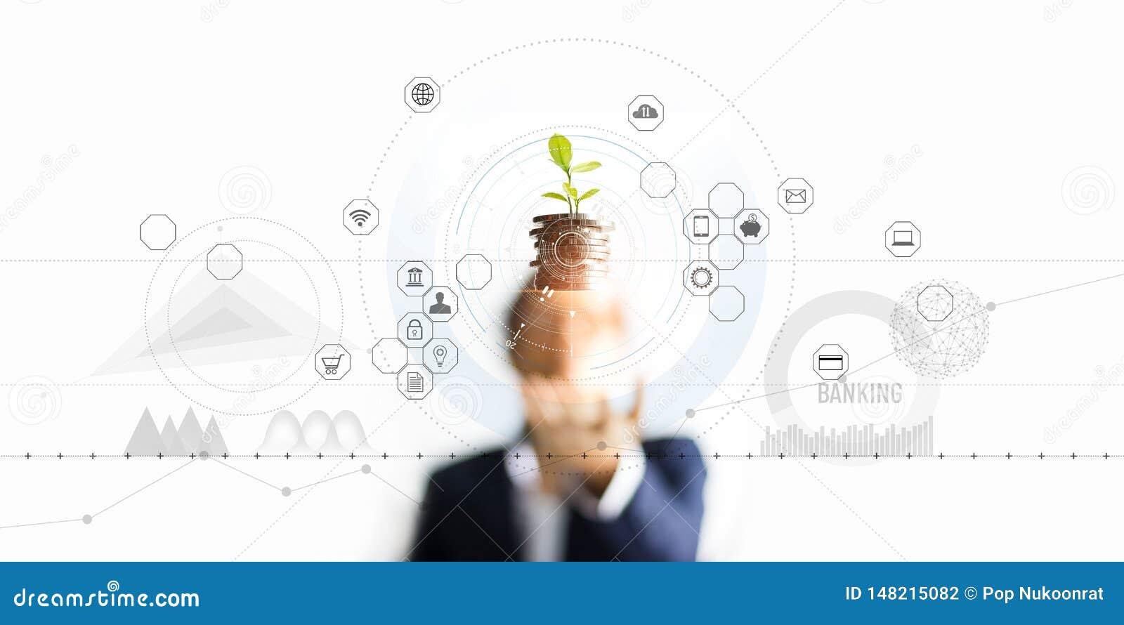 拿着树新芽生长在硬币,抽象成长投资的商人 财务和象顾客,银行网络