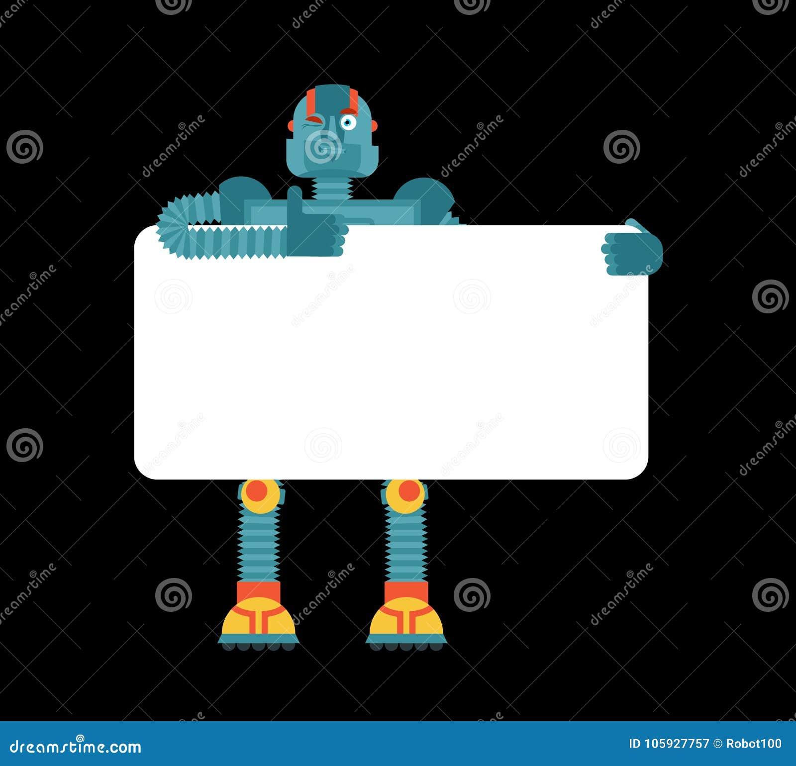 拿着横幅空白的机器人 靠机械装置维持生命的人和白色空白 机器人人
