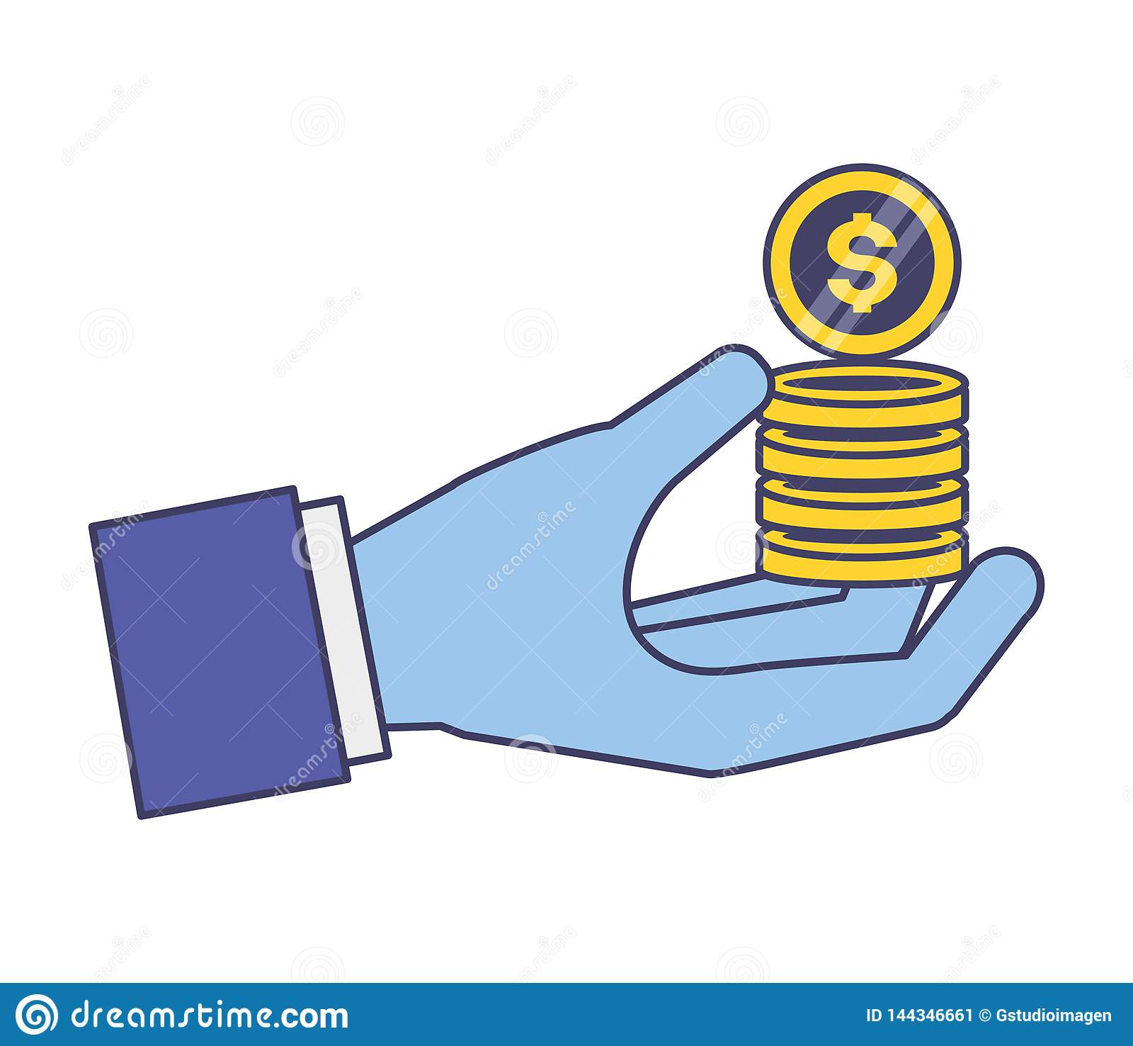 拿着硬币堆的手