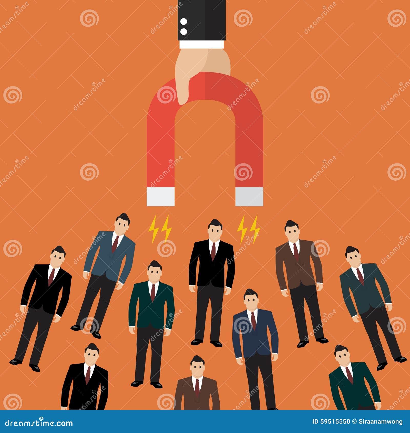 拿着磁铁的商人吸引顾客和客户对事务 到达天空的企业概念金黄回归键
