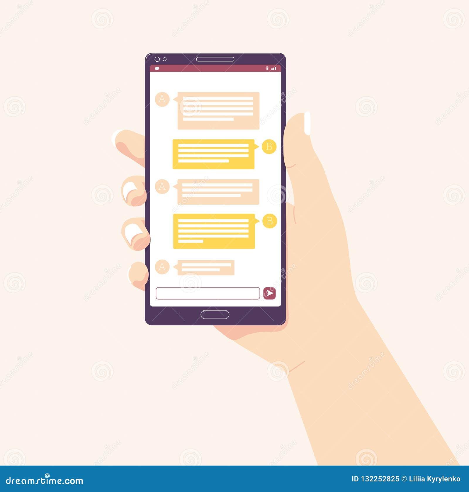 拿着移动电话 也corel凹道例证向量 黑板企业白垩黑板画媒体网络网络连接人照片社交的概念连接数 收到消息 Chating和传讯概念 女性现有量