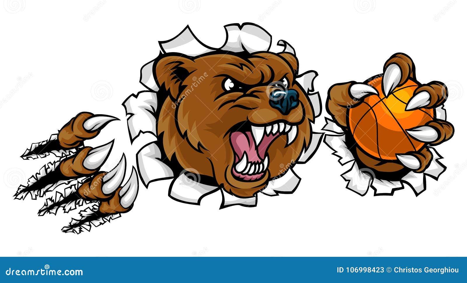 拿着篮球球的熊打破背景