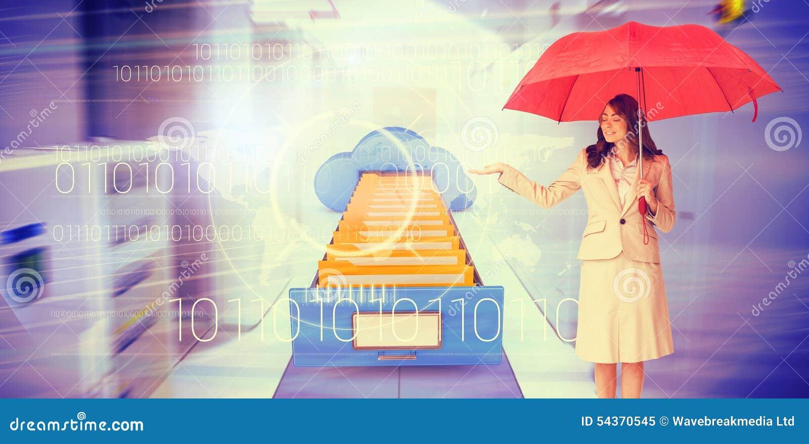 拿着红色伞的可爱的女实业家的综合图象