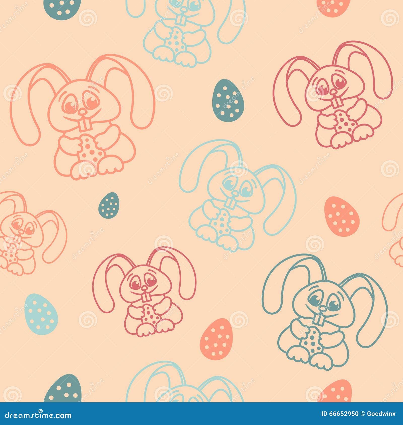 拿着蛋轻淡优美的色彩的复活节无缝的样式兔子