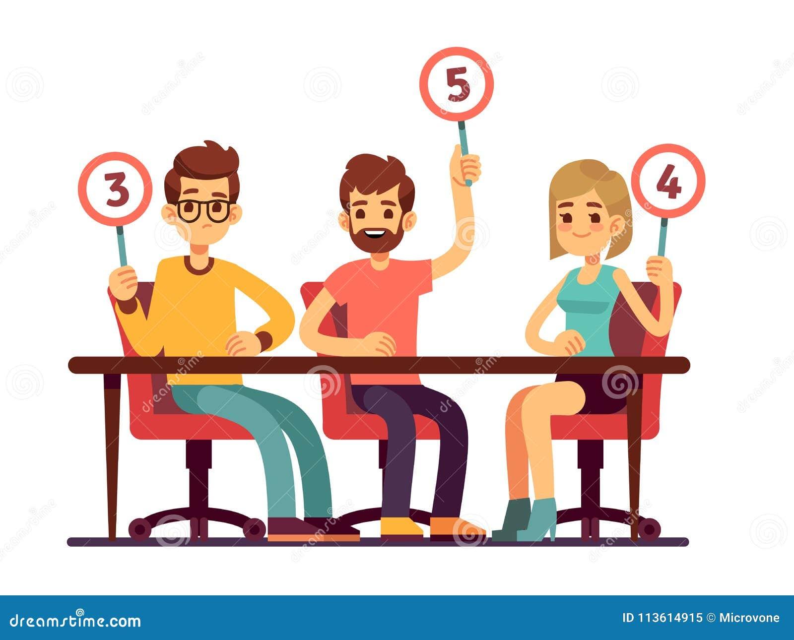 拿着计分卡的陪审员法官 测验人展示竞争传染媒介概念