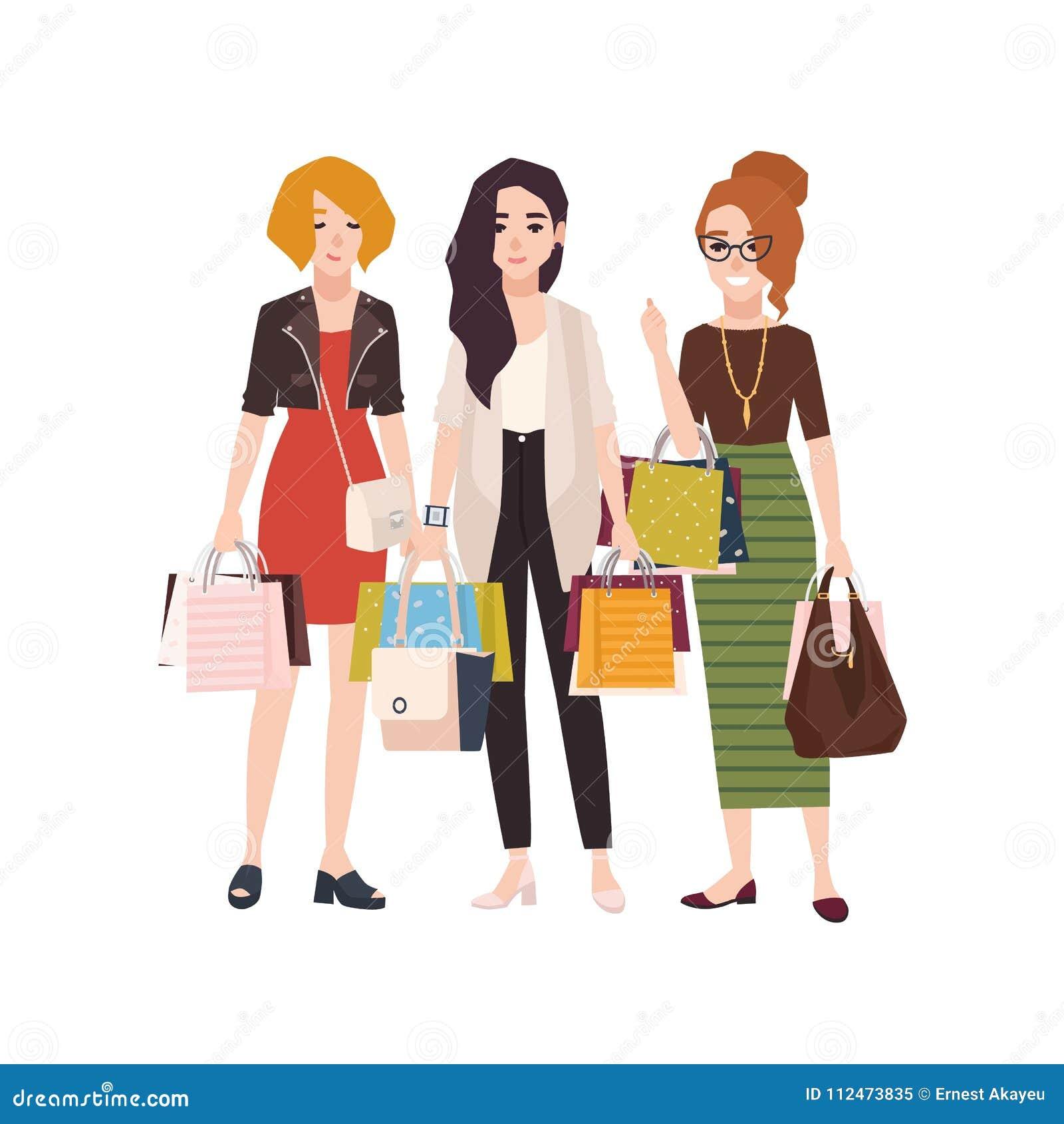 拿着购物袋的小组年轻愉快的妇女 女孩或女性朋友有他们的购买的, shopaholics 平面