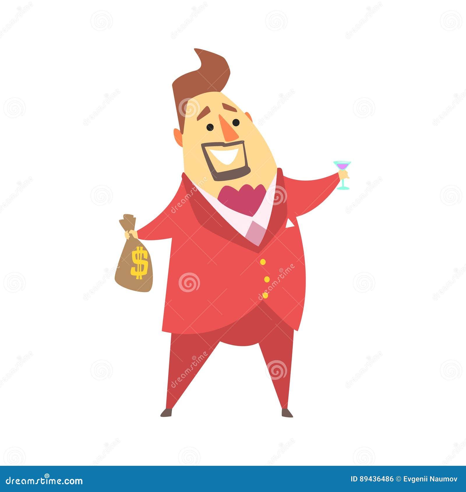 拿着金钱袋子和杯马蒂尼鸡尾酒,滑稽的漫画人物生活方式情况的百万富翁富人