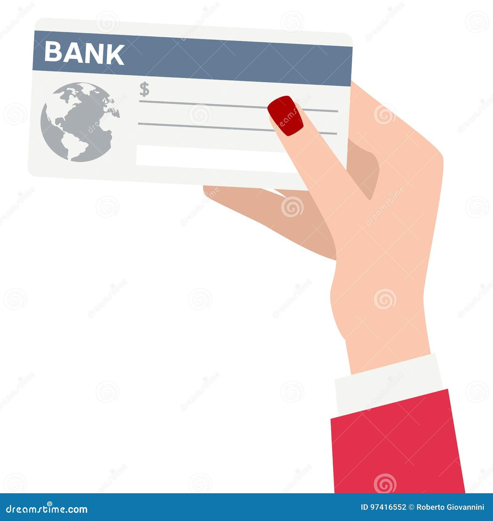 拿着银行支票平的象的女性手