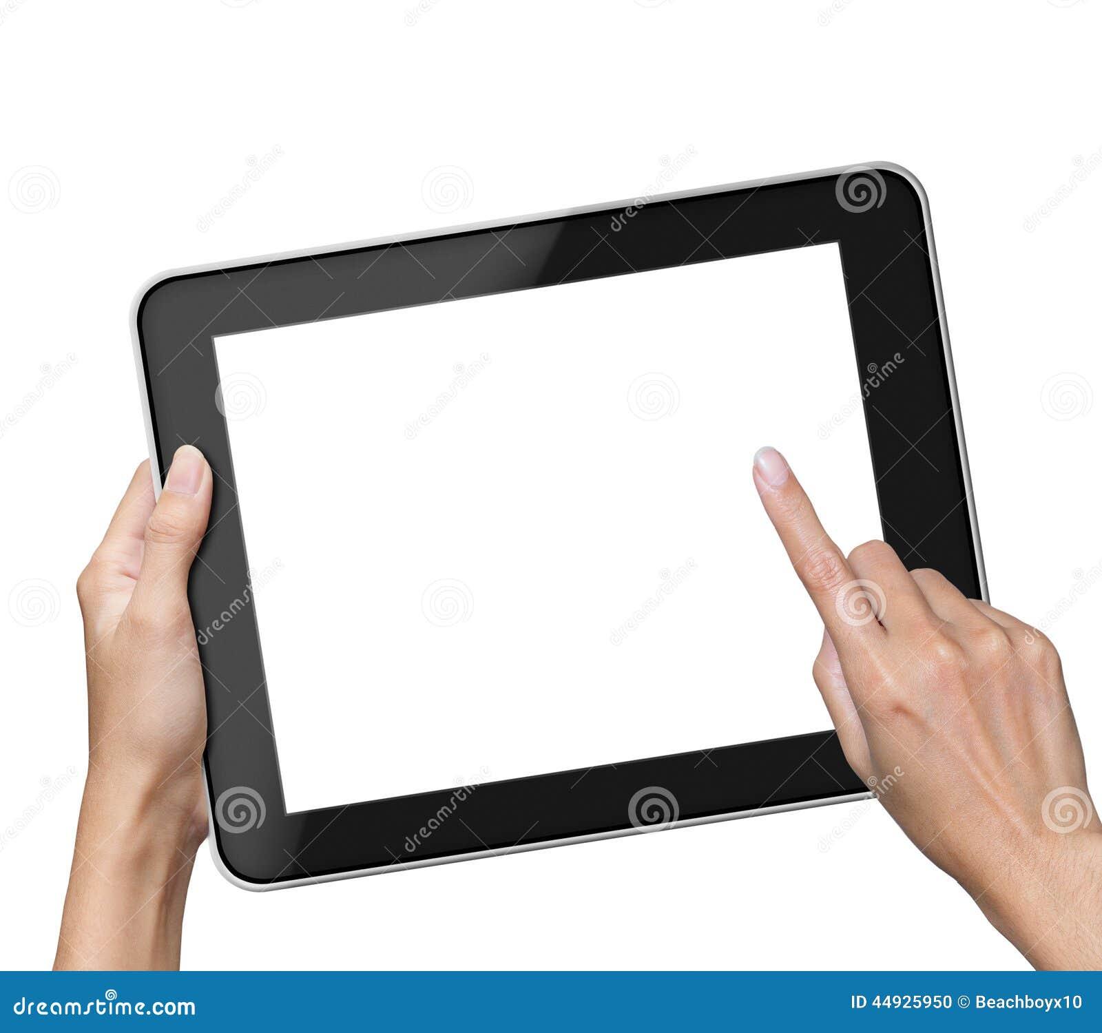 拿着黑屏片剂的手