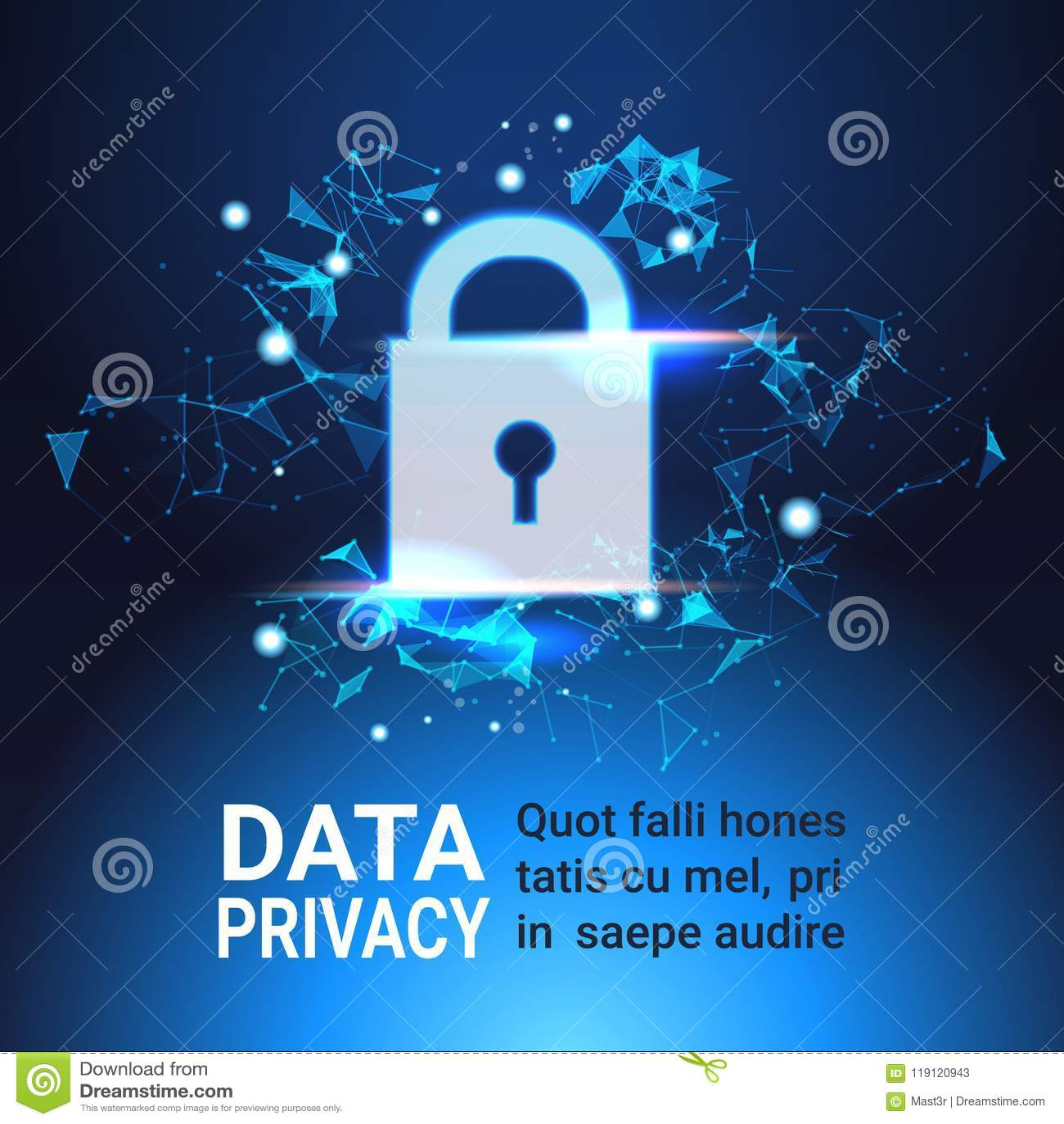 挂锁数据保护保密性概念 GDPR 网络安全网络背景 保护个人信息