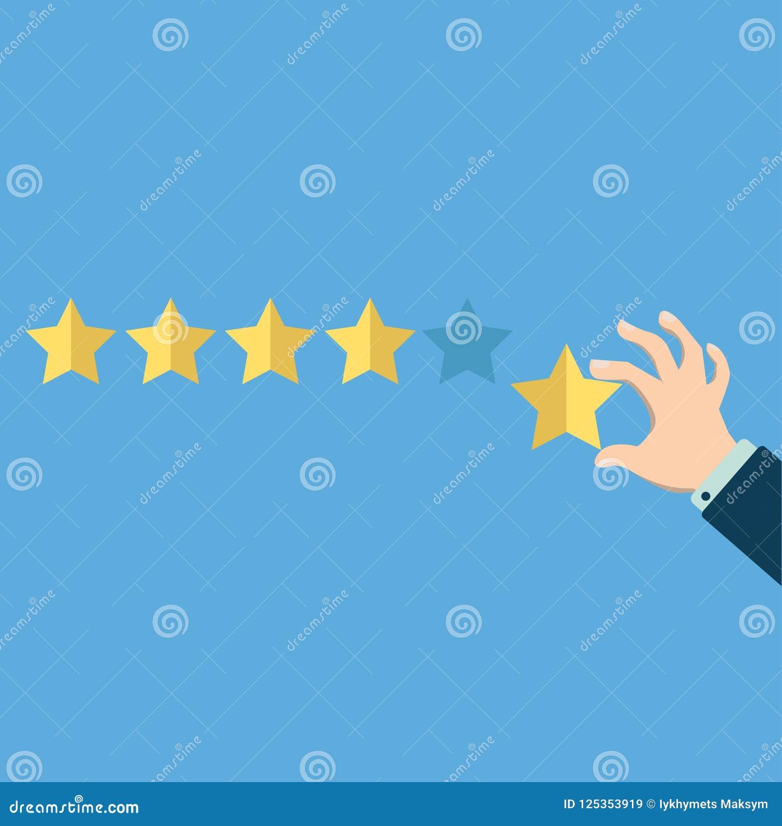 指向一致的手五个星 规定值、评估、成功、反馈、回顾、质量和管理概念 传染媒介illustra