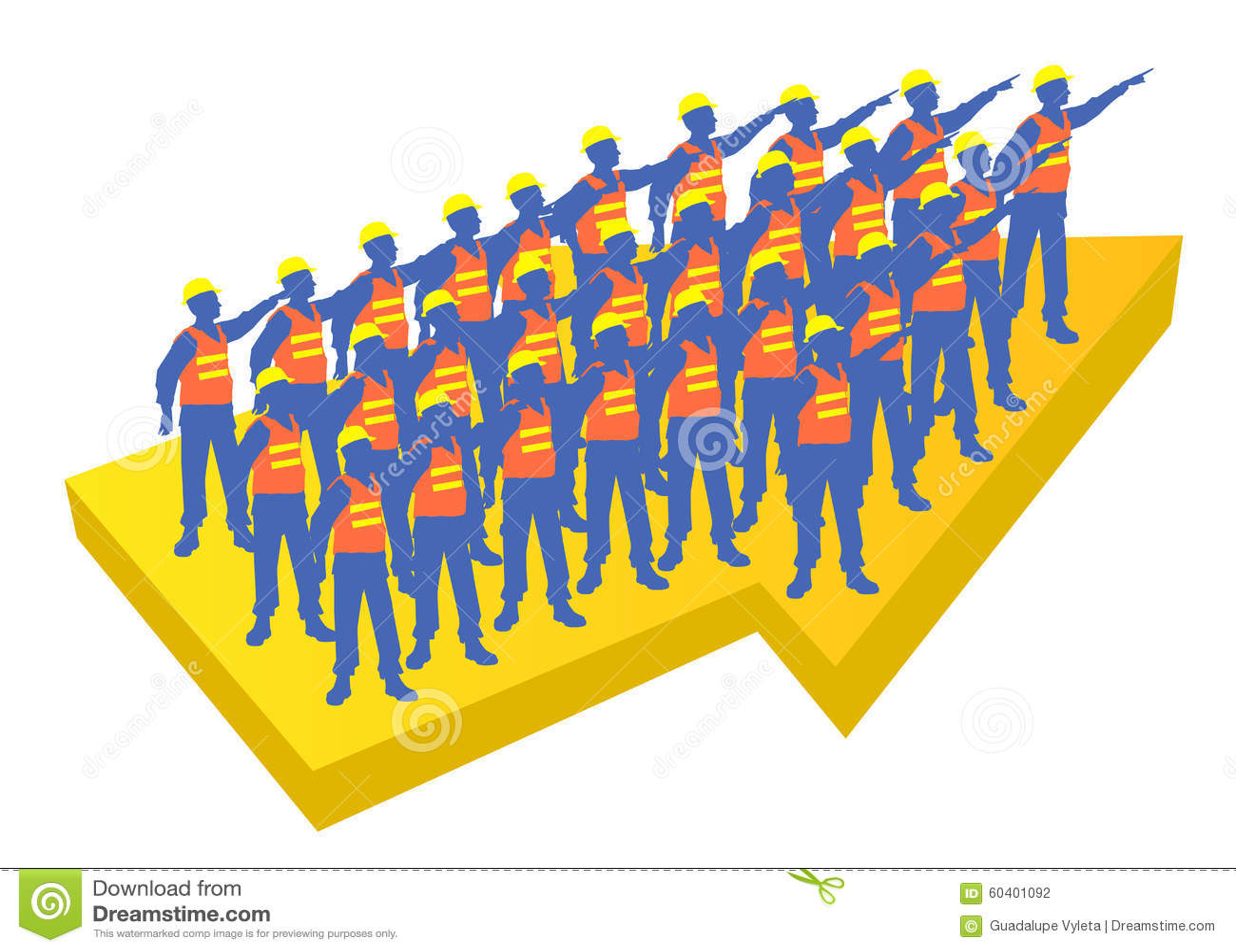 指向同一个方向的工作者队在一个黄色箭头