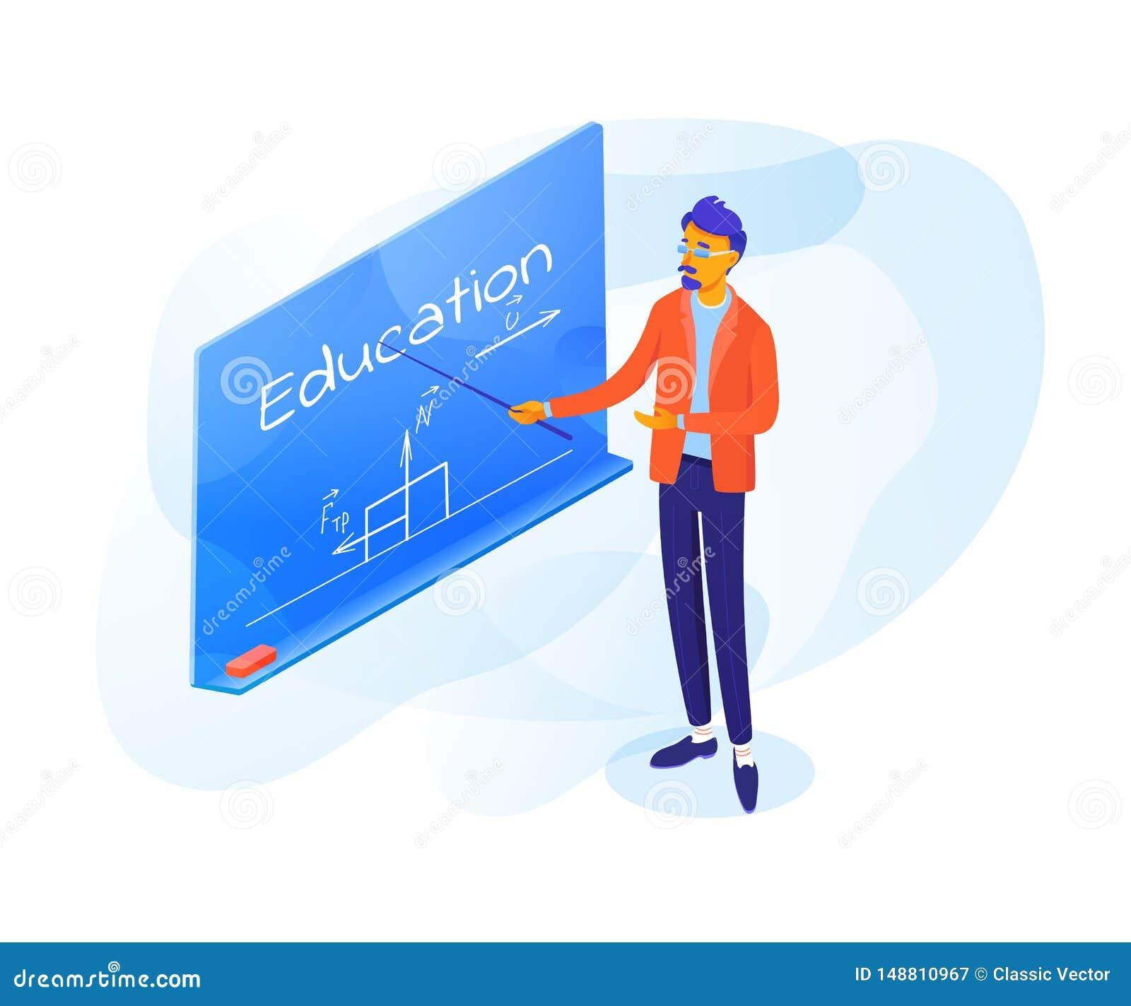指向在黑板传染媒介例证的老师