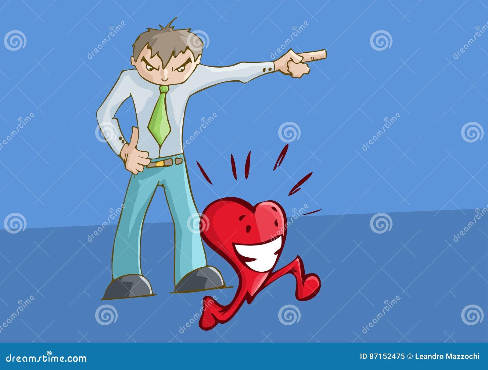 指向左边的恼怒的人翻倒 愉快的心脏赛跑