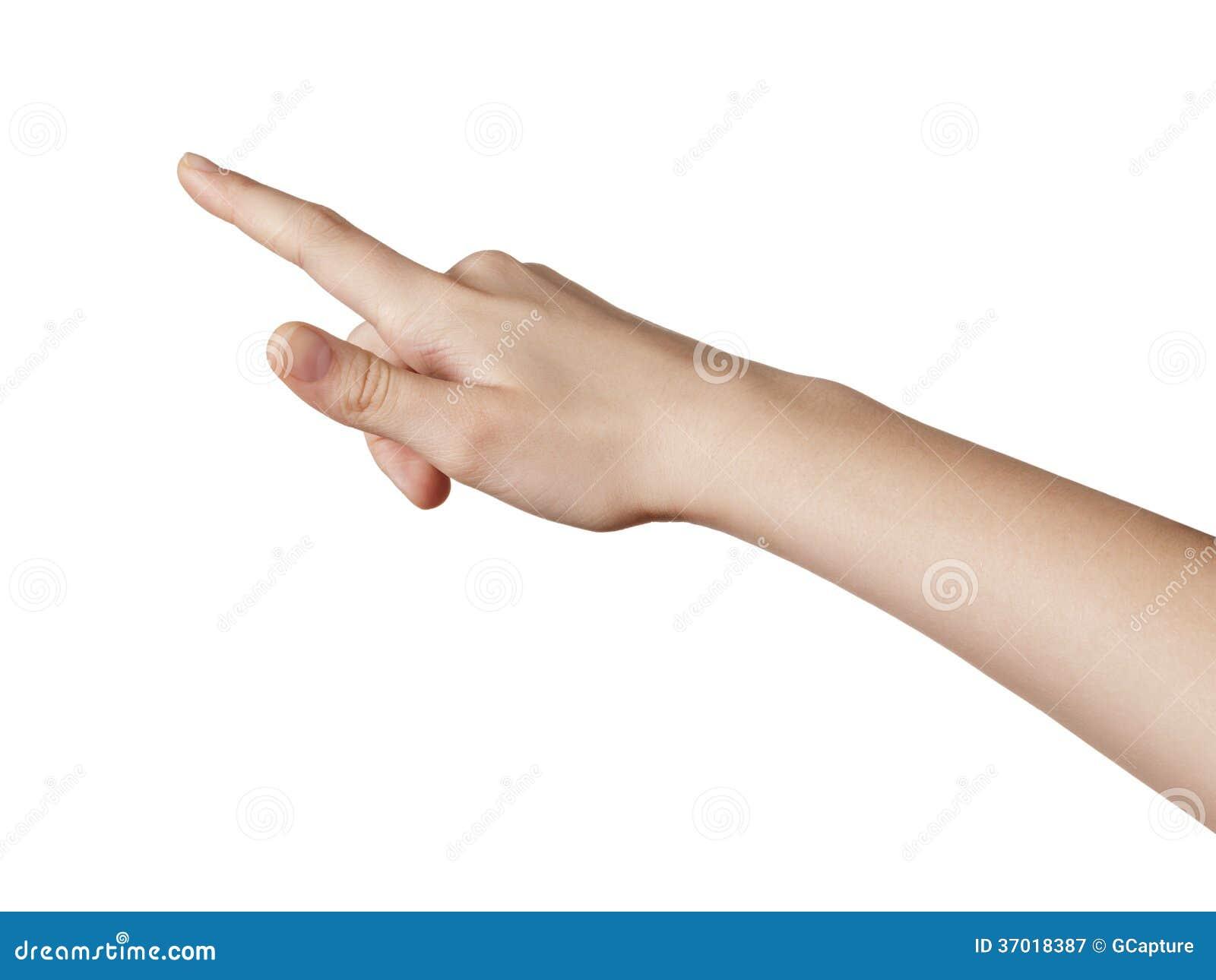 指向或点击某事的女性青少年的手
