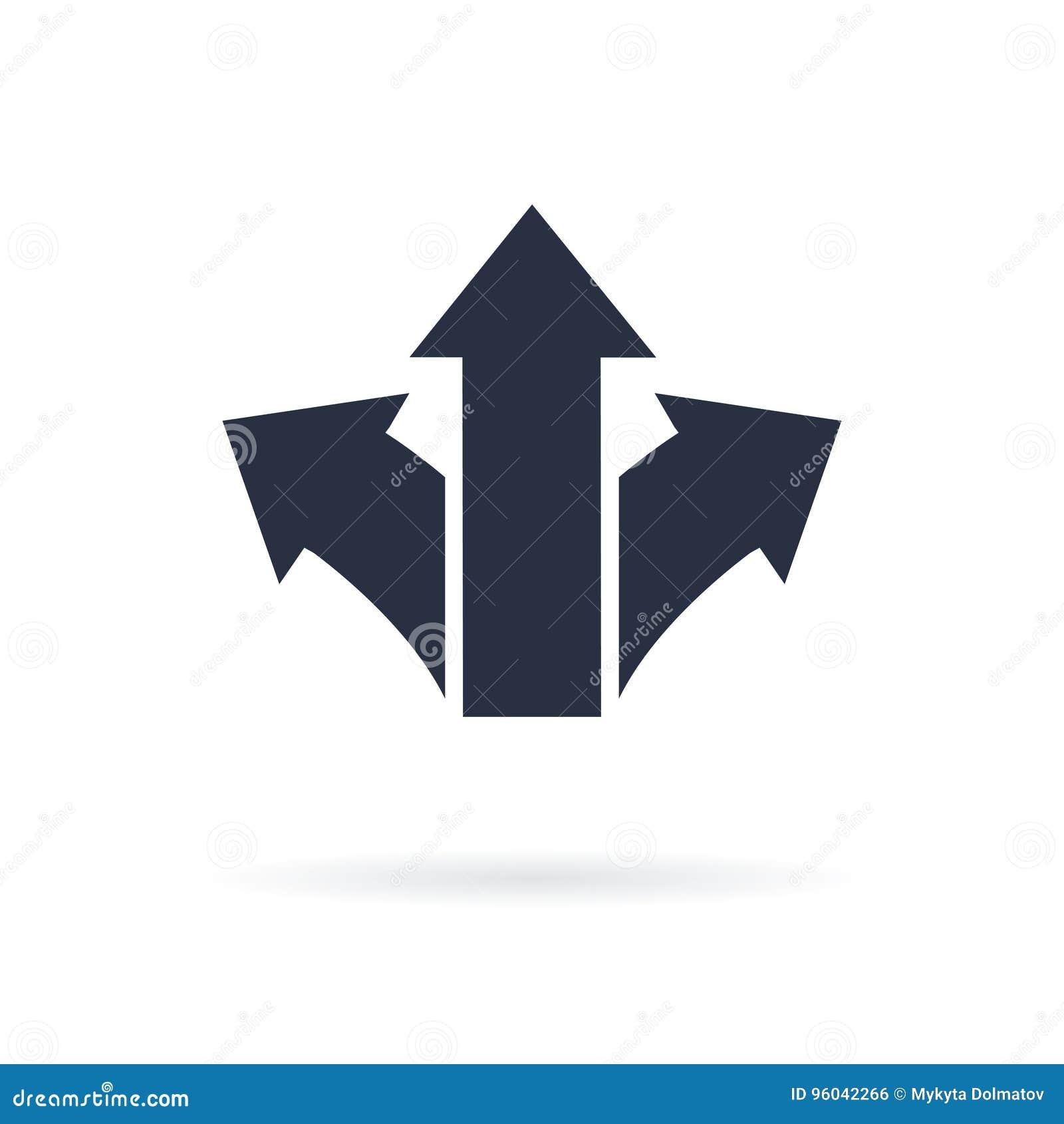 指向用不同的方向的三个箭头标志 挑选象,方式概念 适应图标