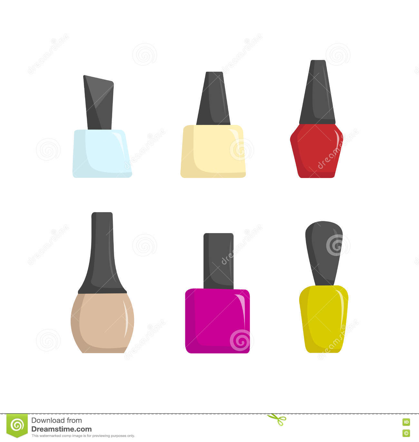 指甲油五颜六色的瓶子,美容院动画片传染媒介例证