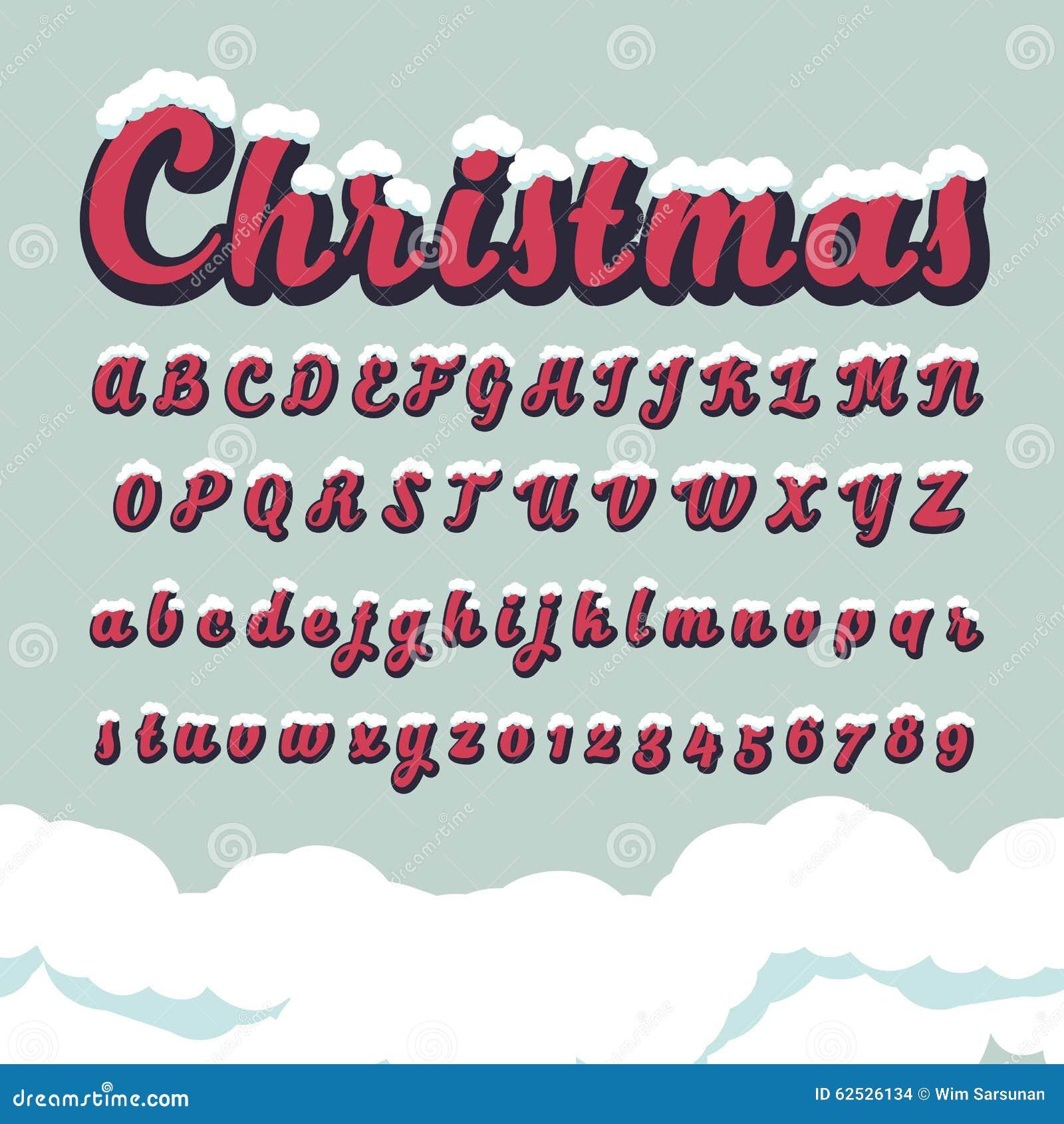 按字母顺序的字体和数字圣诞节的