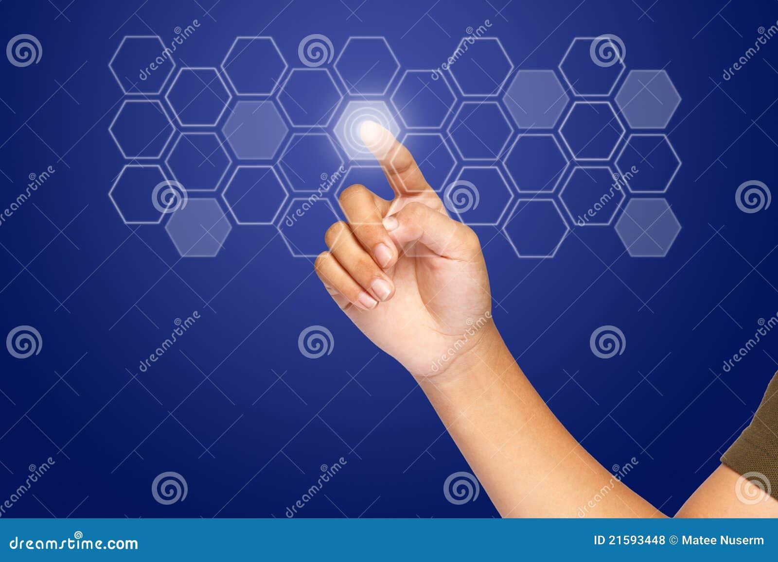 按钮单击六角形触摸屏